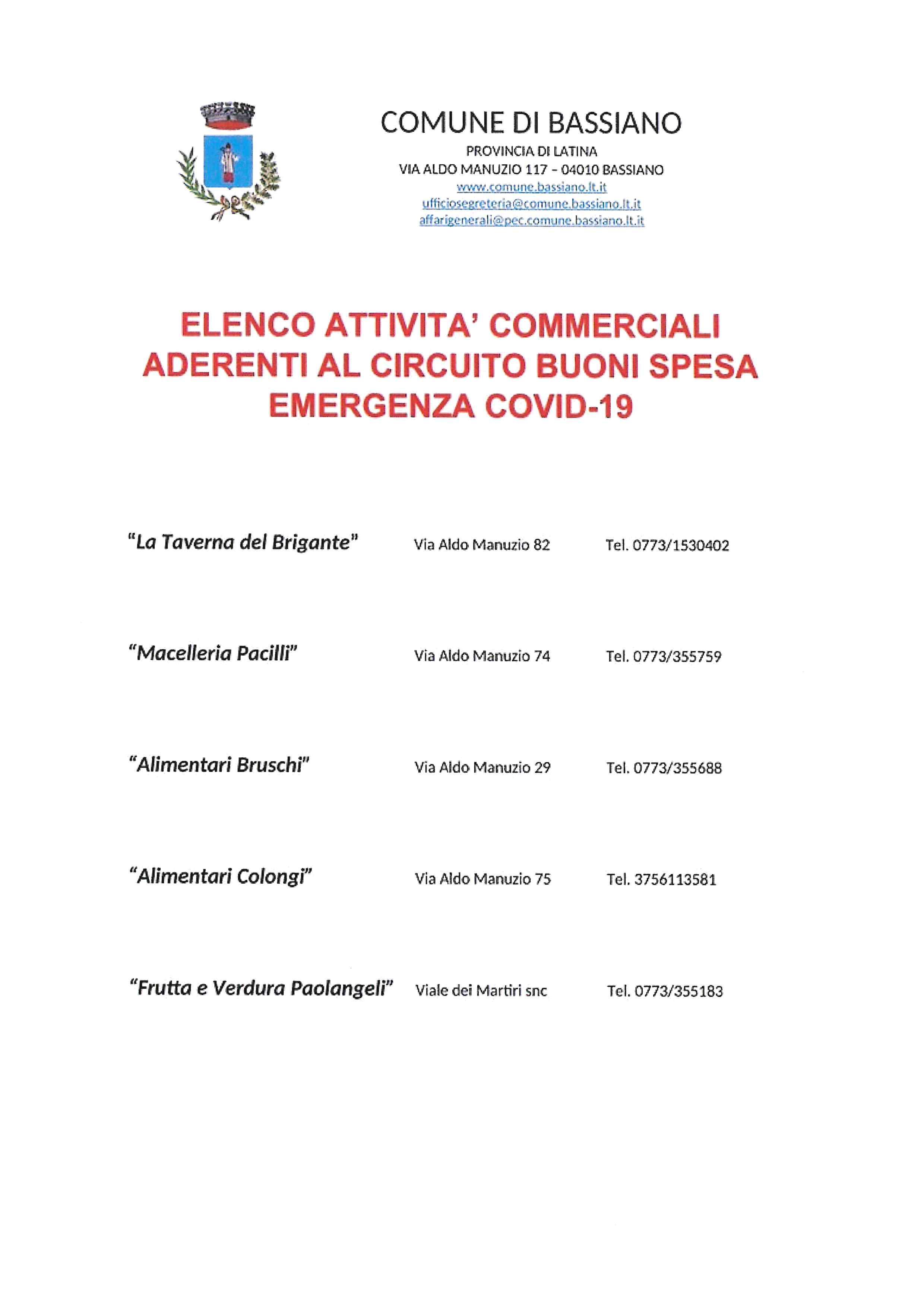 ELENCO ATTVITA' COMMERCIALI ADERENTI AL CIRCUITO BUONI SPESA EMERGENZA COVID-19