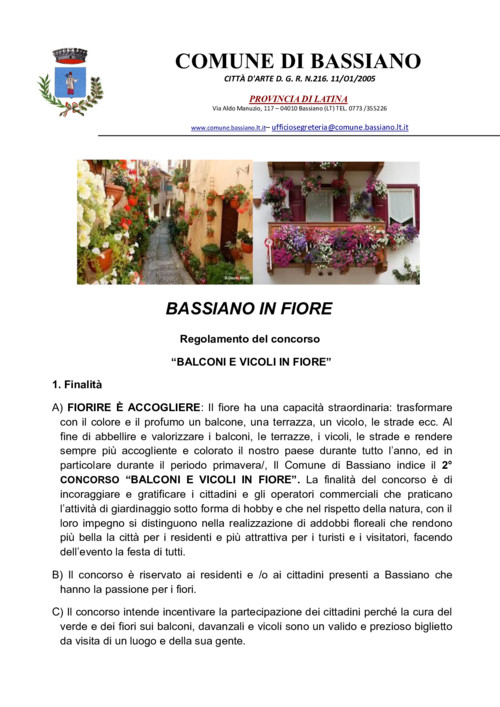 CONCORSO BASSIANO IN FIORE 2019