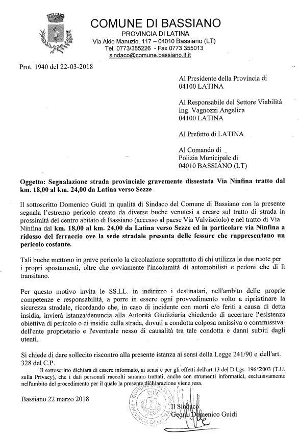 SEGNALAZIONE STRADA PROVINCIALE GRAVEMENTE DISSESTATA VIA NINFINA TRATTO DAL KM. 18,00 AL KM. 24,00 VERSO SEZZE