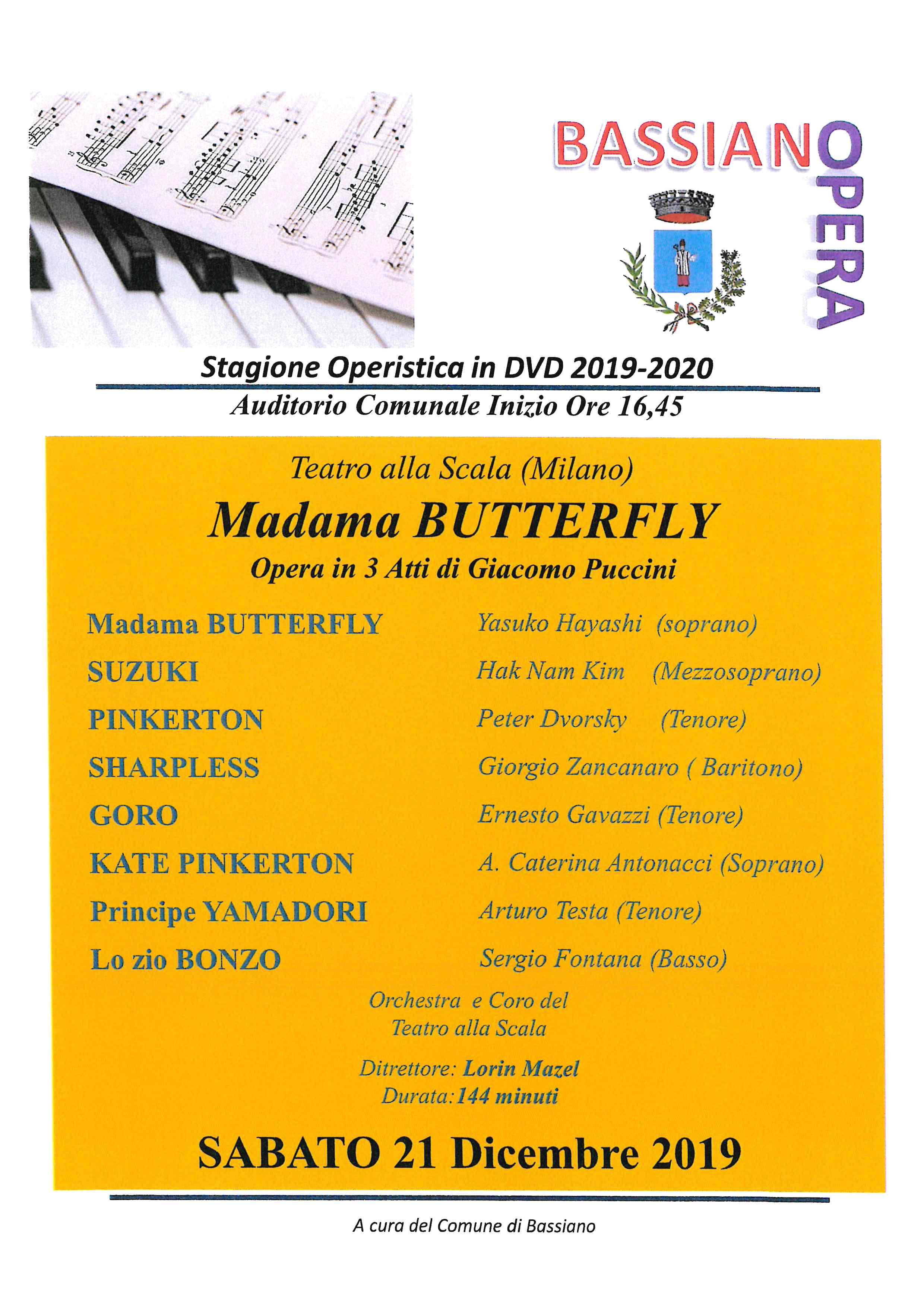 MADAMA BUTTERFLY opera in 3 Atti di Giacomo Puccini