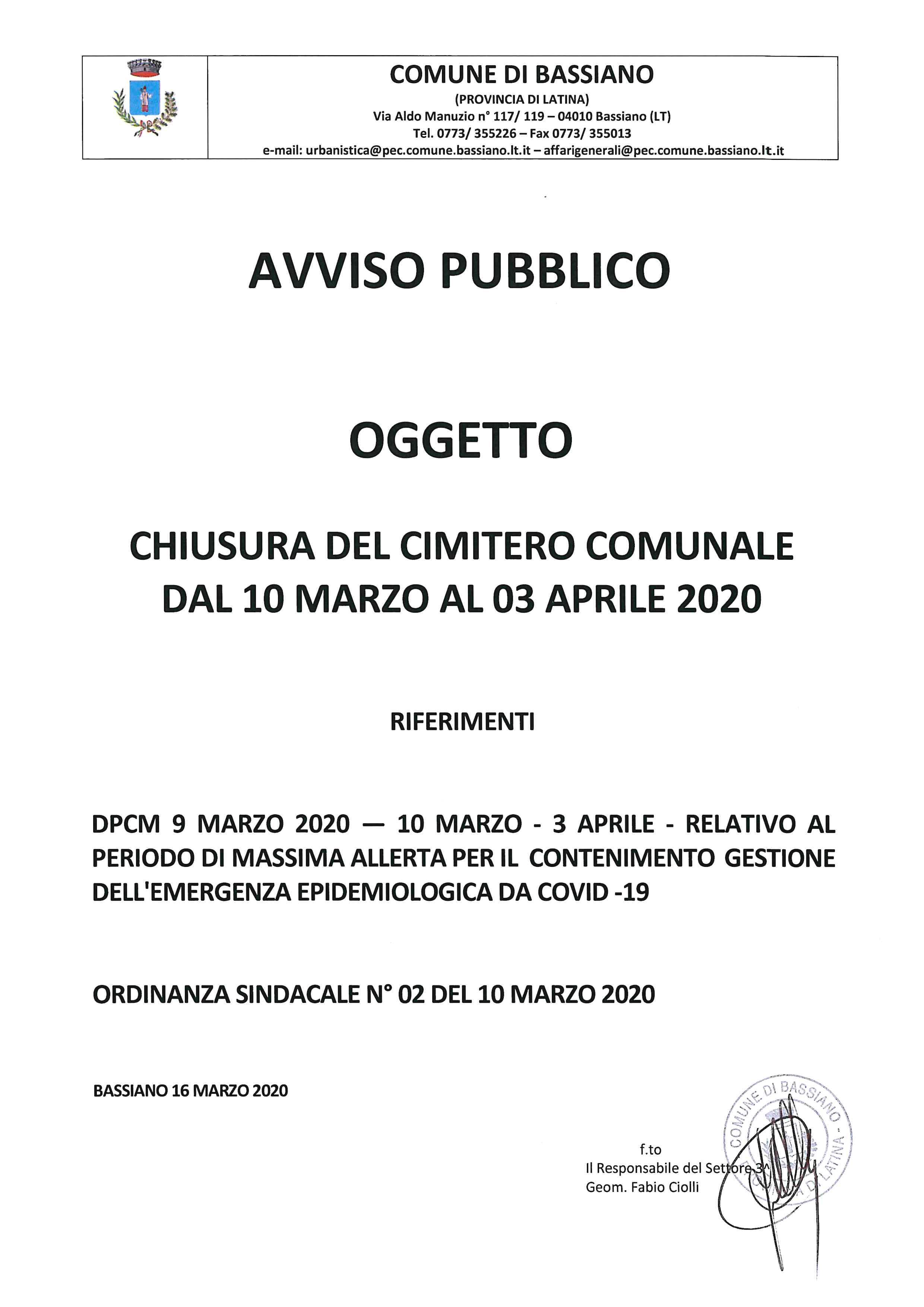 AVVISO PUBBLICO: CHIUSURA DEL CIMITERO COMUNALE DAL 10 MARZO AL 03 APRILE 2020