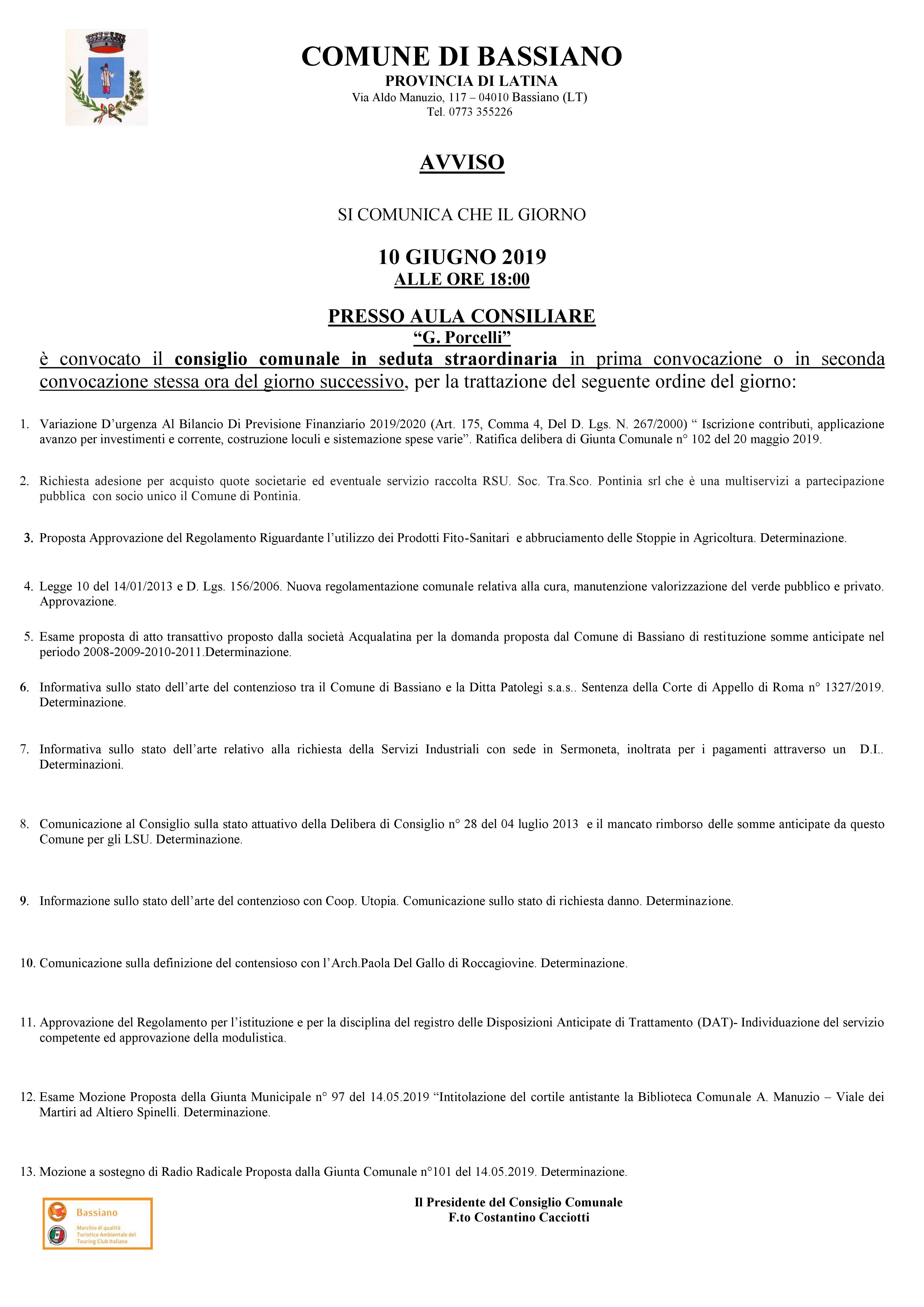 AVVISO CONSIGLIO COMUNALE DEL 10 GIUGNO 2019  ORE 18:00 PRESSO AULA CONSILIARE