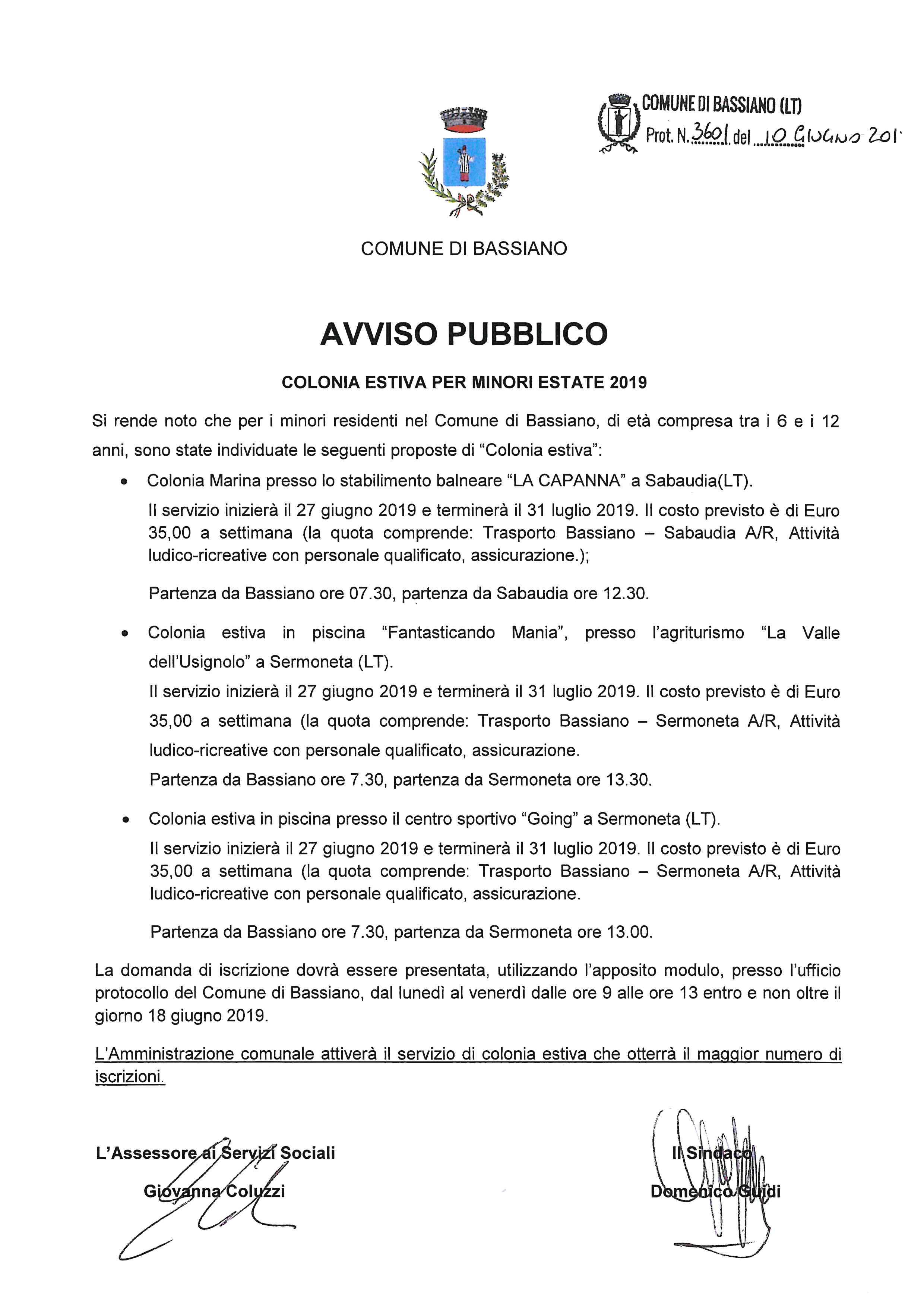AVVISO PUBBLICO COLONIA ESTIVA PER MINORI ESTATE 2019 (IN ALLEGATO DOMANDA ISCRIZIONE)