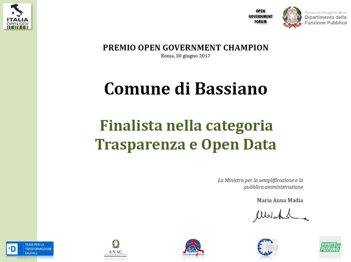PREMIO OPEN GOVERNMENT CHAMPION - COMUNE DI BASSIANO FINALISTA NELLA CATEGORIA TRASPARENZA ED OPEN DATA