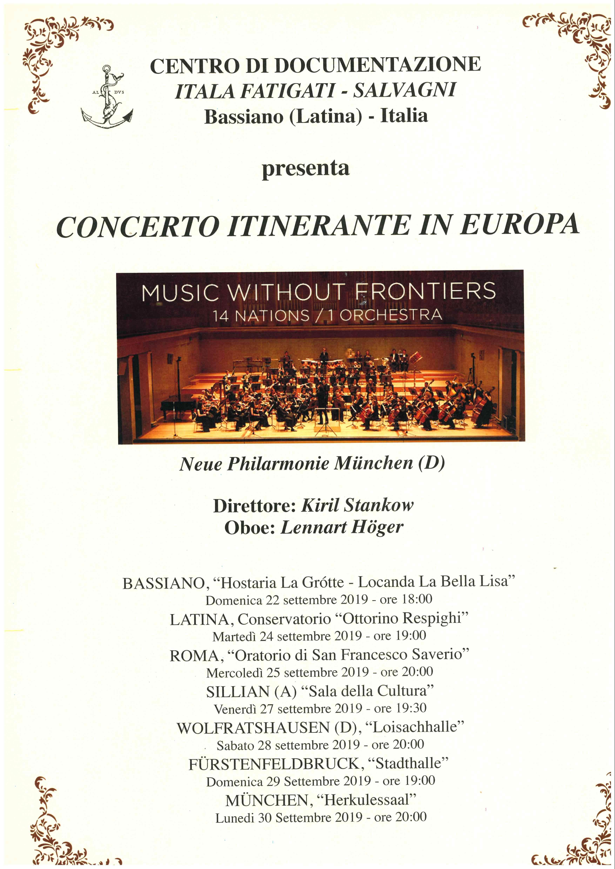 CONCERTO ITINERANTE IN EUROPA - BASSIANO 22 SETTEMBRE 2019 ORE 18:00 - HOSTARIA LA GROTTE - LOCANDA LA BELLA LISA