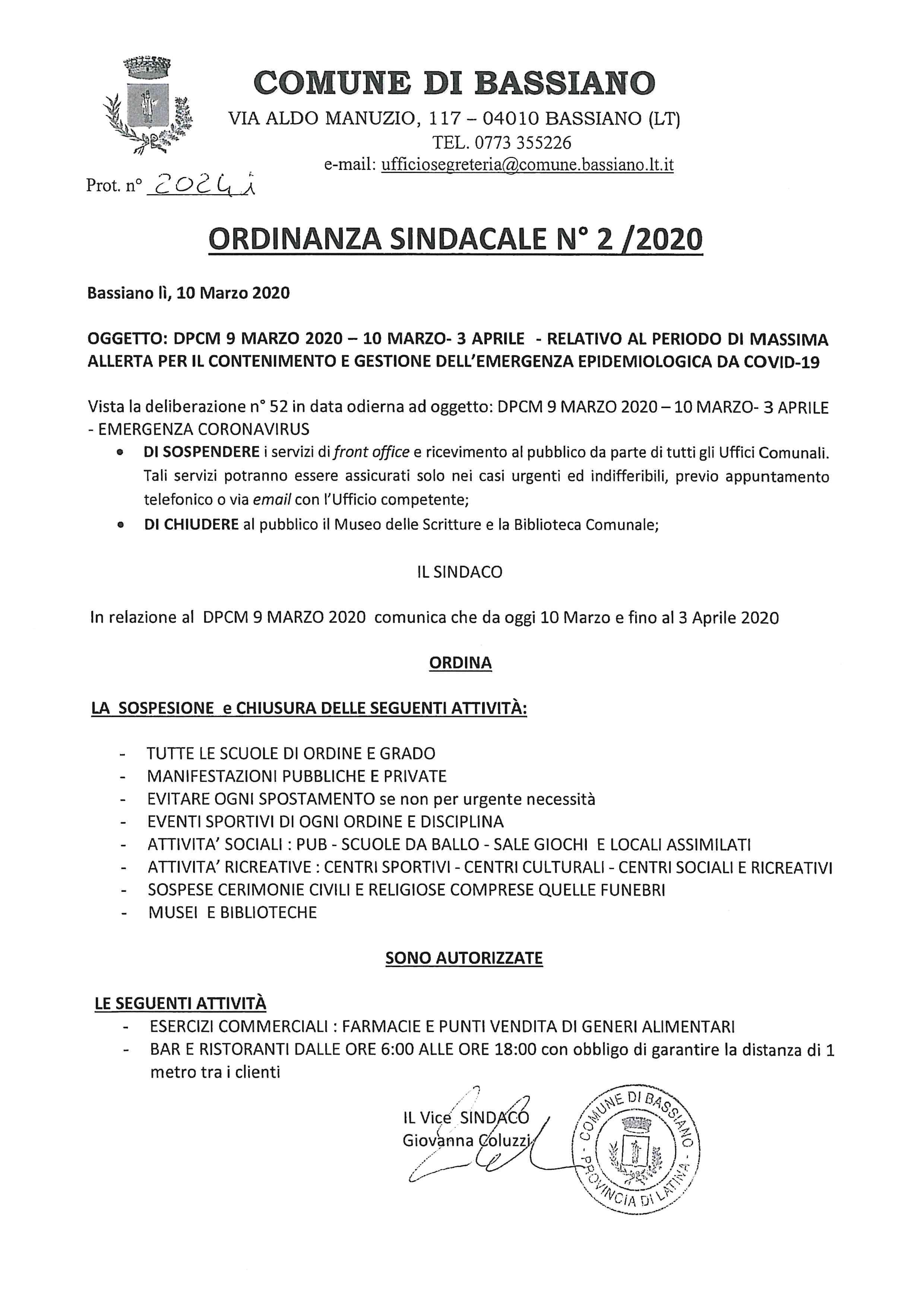 ORDINANZA SINDACALE N. 2/2020