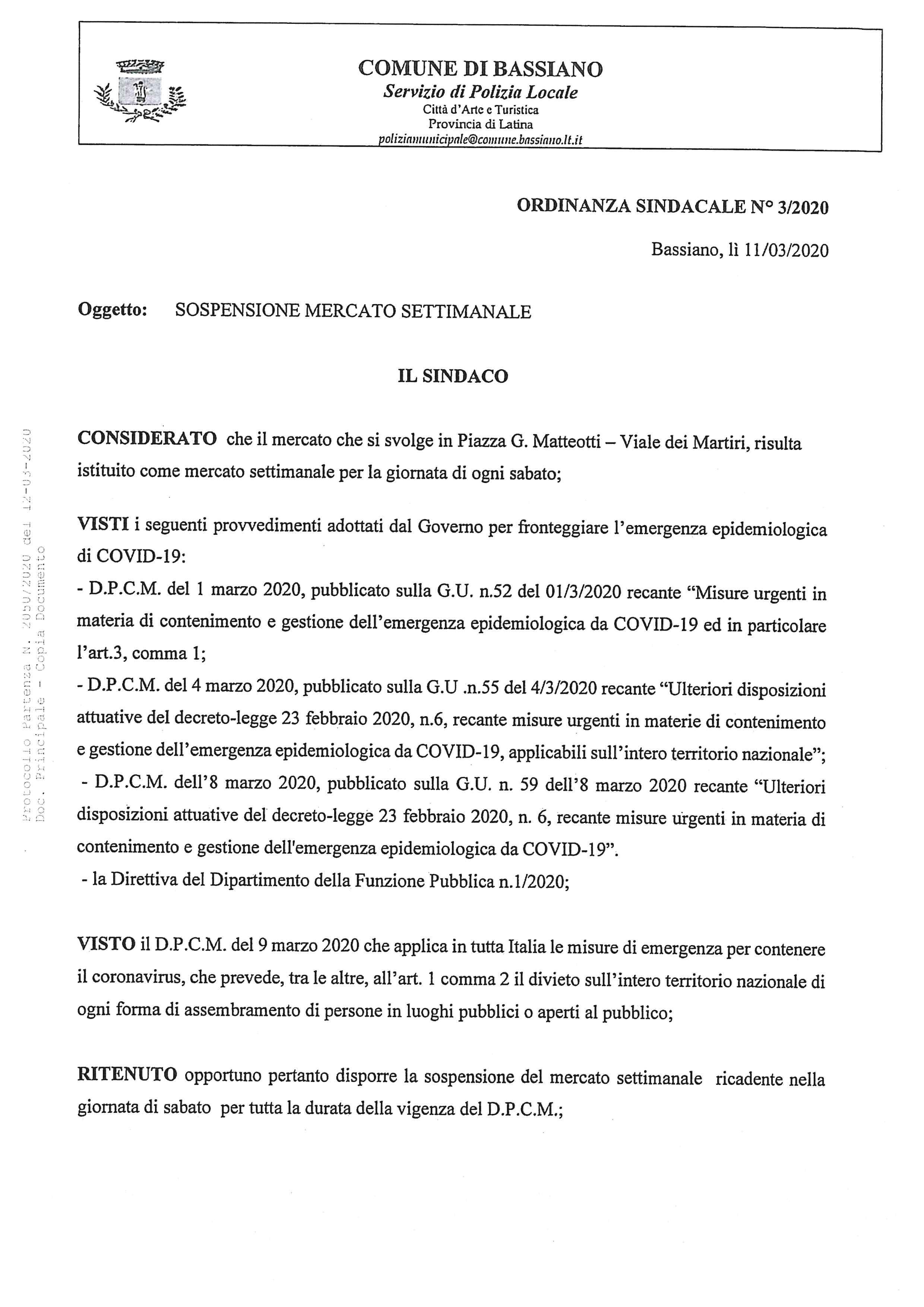 ORDINANZA SINDACALE N. 3/2020