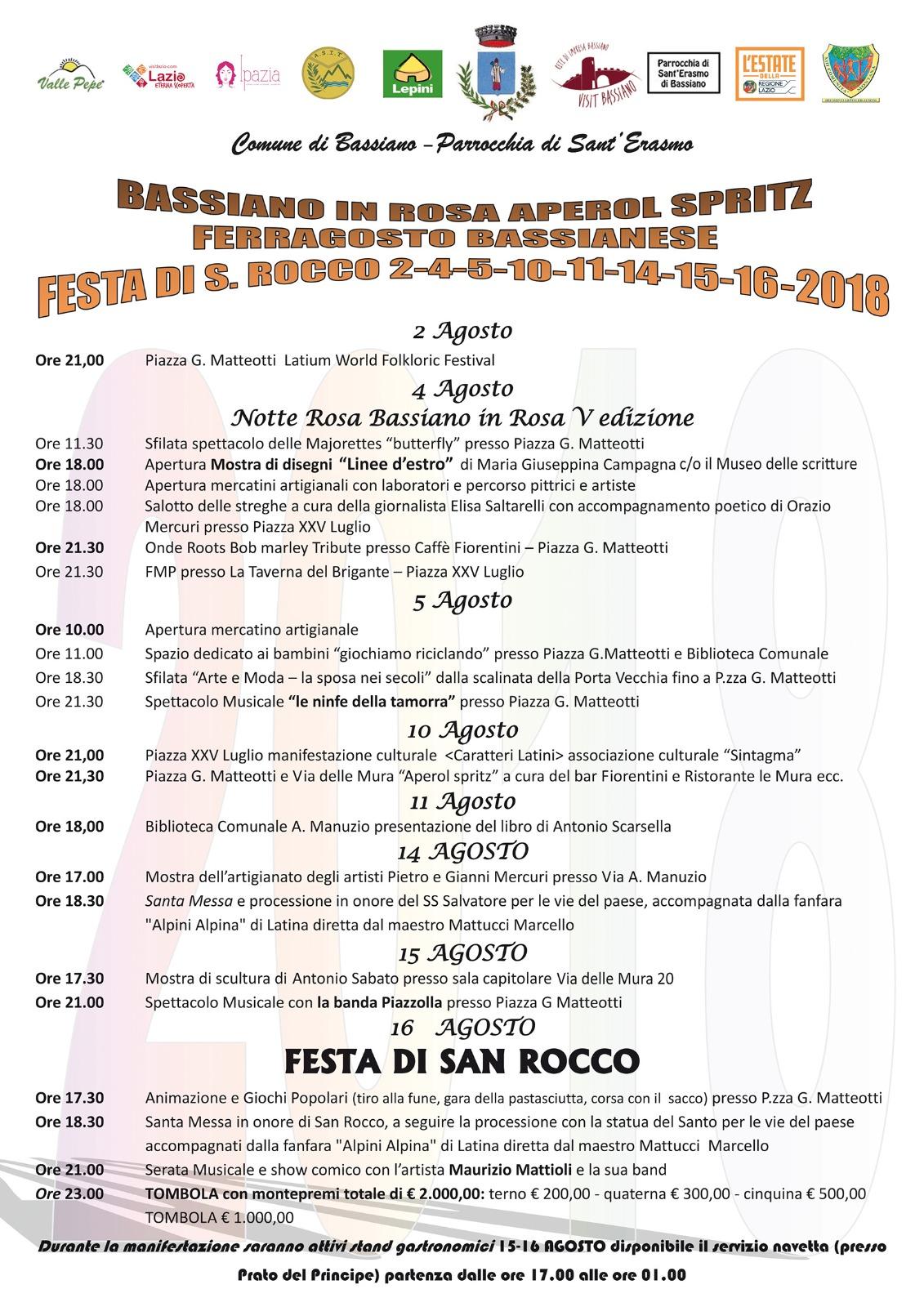PROGRAMMA MANIFESTAZIONI AGOSTO 2018