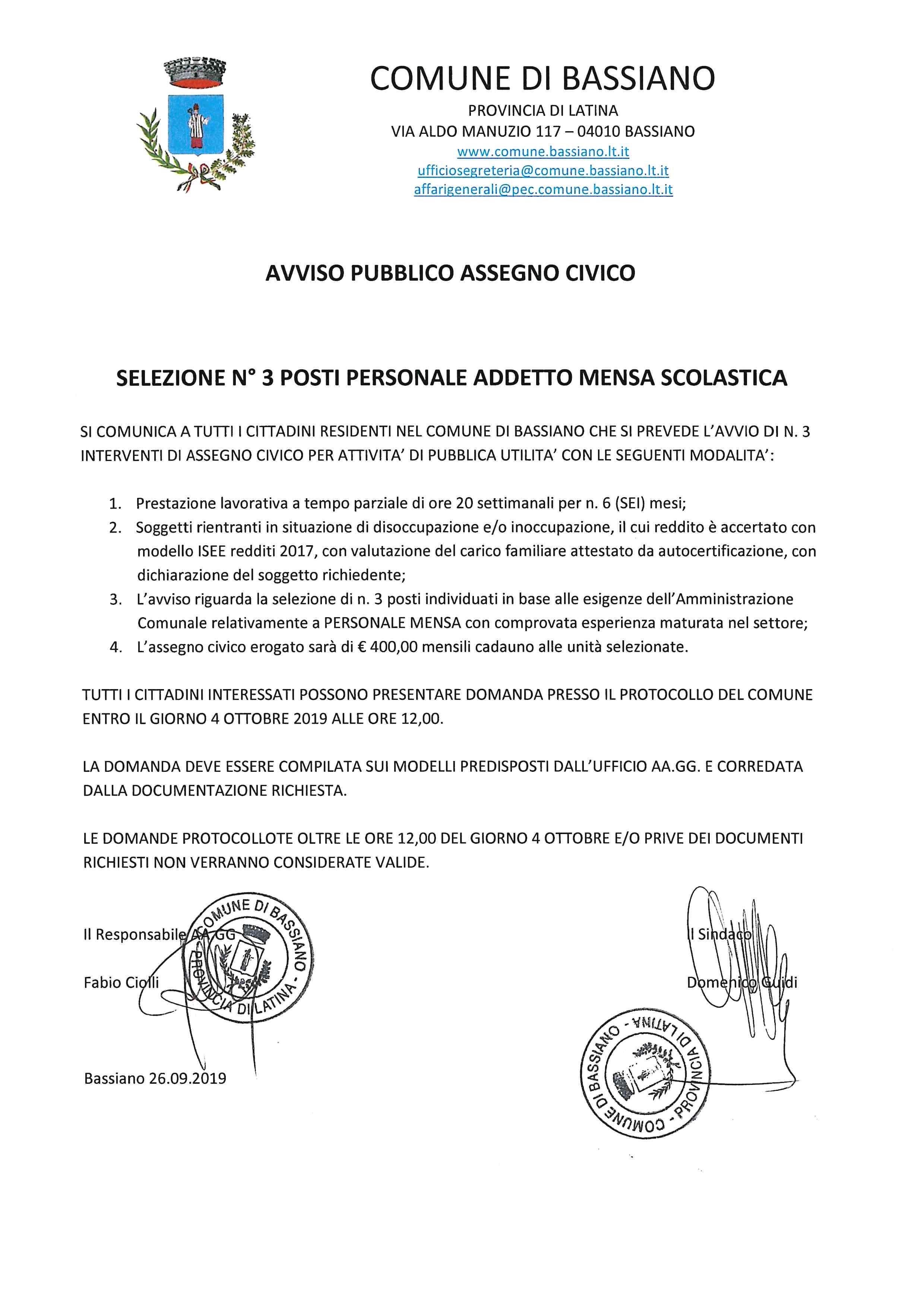 SELEZIONE N° 3 POSTI PERSONALE ADDETTO MENSA SCOLASTICA