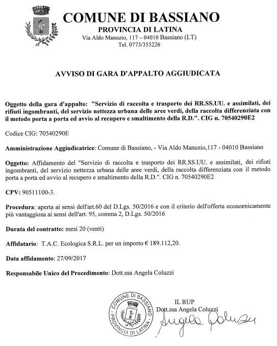 AVVISO DI GARA D'APPALTO AGGIUDICATA