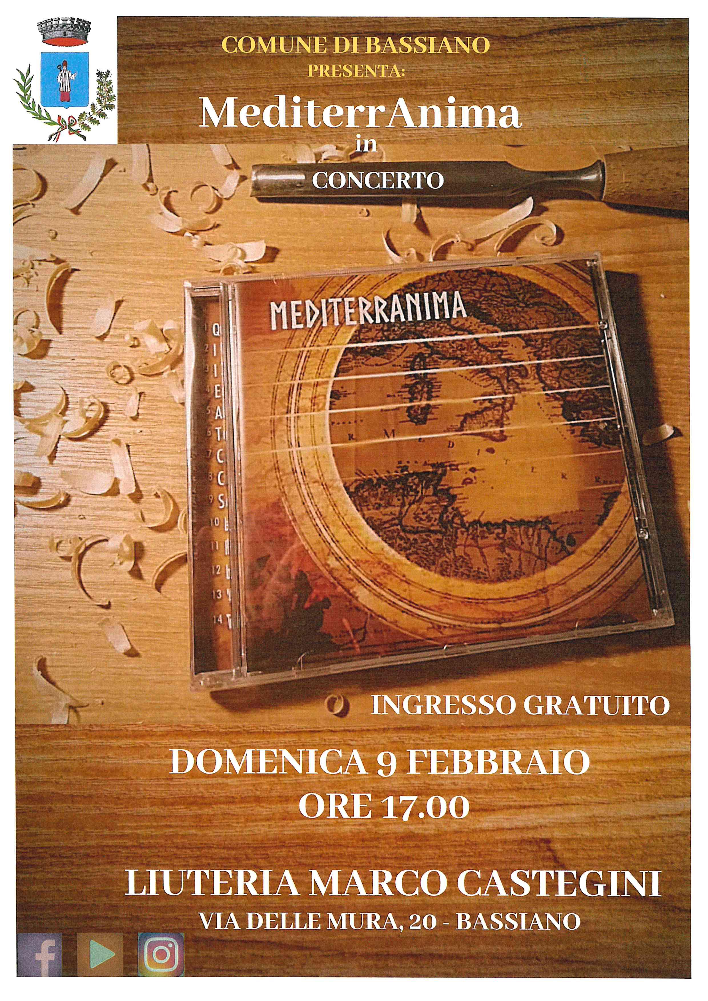 MEDITERRANIMA IN CONCERTO DOMENICA 9 FEBBRAIO ORE 17:00 PRESSO LIUTERIA MARCO CASTEGINI, Via delle Mura n. 20