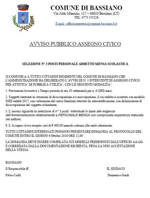 AVVISO PUBBLICO ASSEGNO CIVICO - SELEZIONE N. 3 POSTI PERSONALE ADDETTO MENSA SCOLASTICA