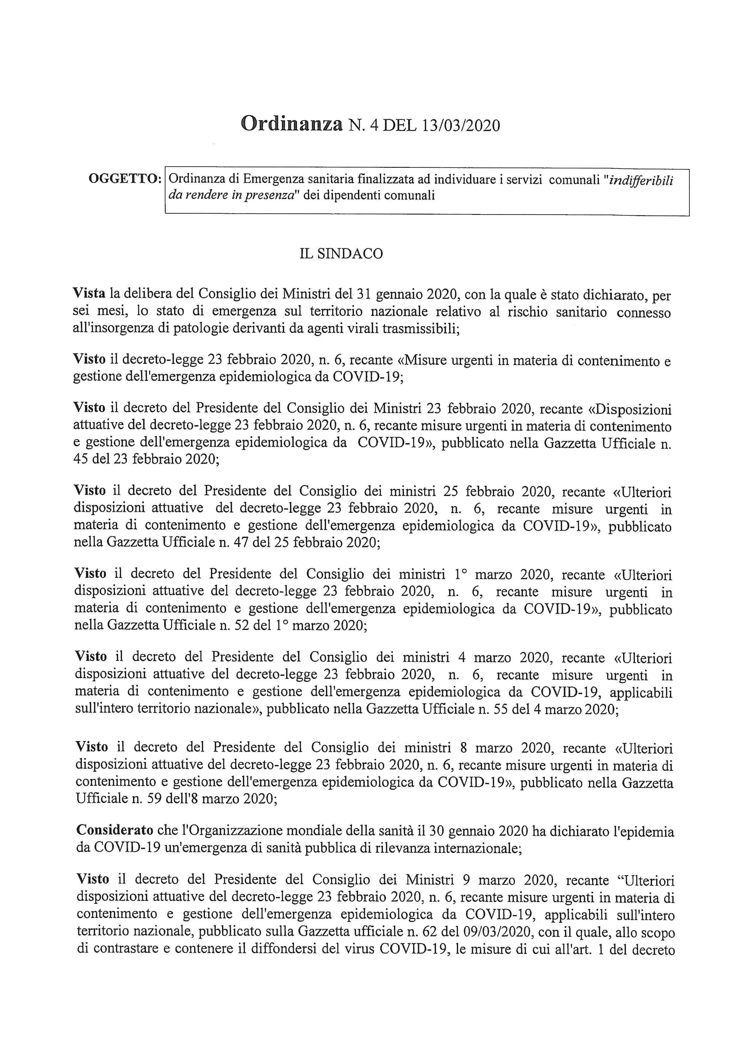 ORDINANZA SINDACALE N.4/2020