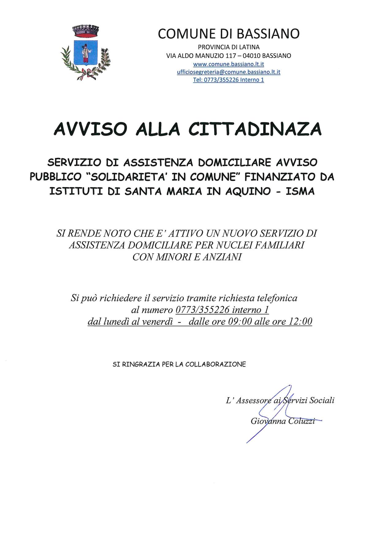 AVVISO SERVIZIO DI ASSISTENZA DOMICILIARE