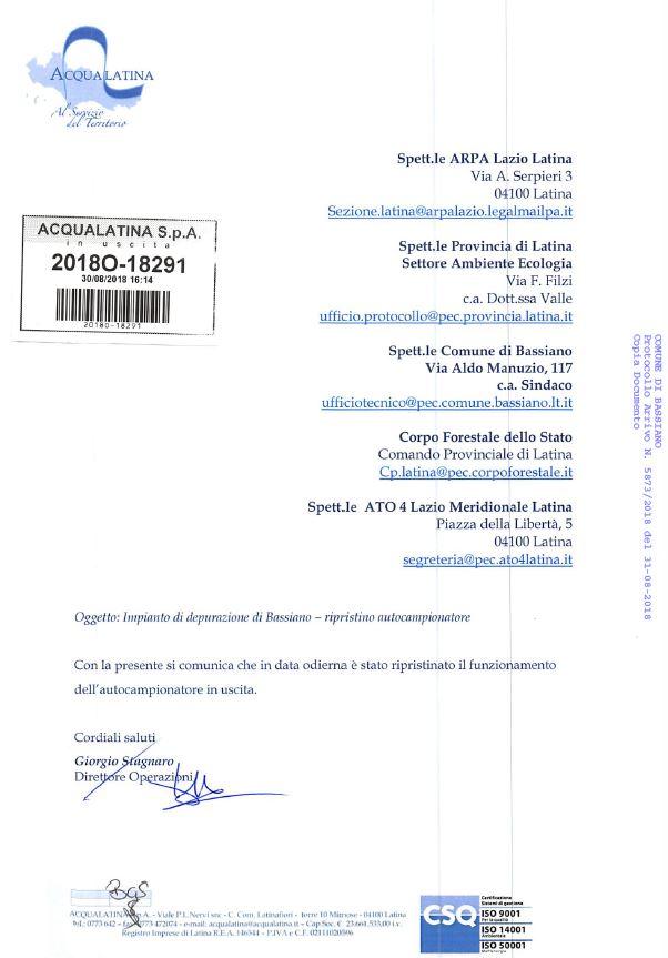 """NOTA ACQUALATINA S.P.A. AD OGGETTO: """" IMPIANTO DI DEPURAZIONE DI BASSIANO - RIPRISTINO AUTOCAMPIONATORE""""."""