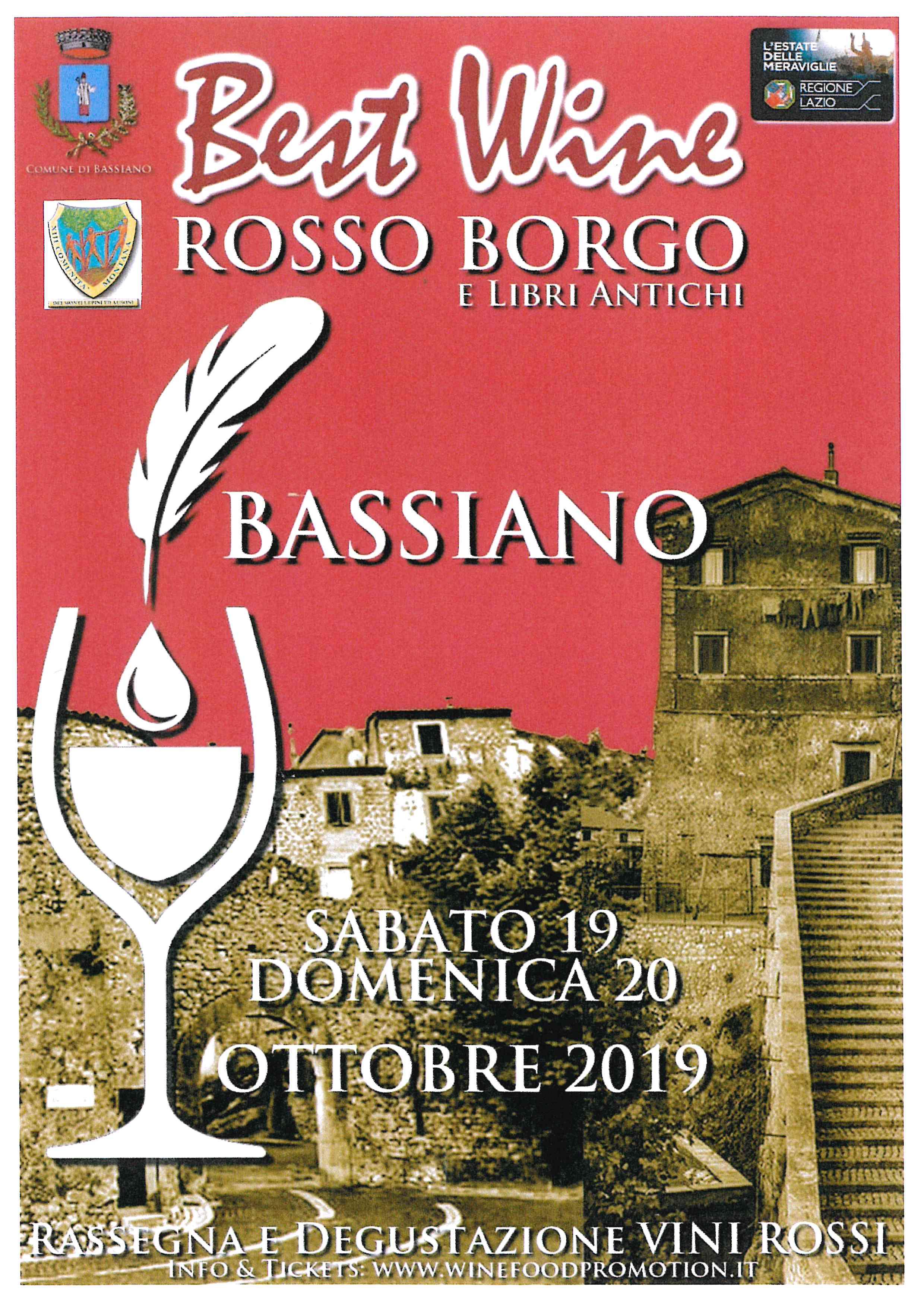 Sabato 19 e Domenica 20  ottobre 2019 - Best Wine Rosso Borgo e Libri Antichi