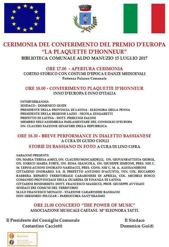 """CERIMONIA DEL CONFERIMENTO DEL PREMIO D'EUROPA """"LA PLAQUETTE D'HONNEUR"""" - BIBLIOTECA COMUNALE ALDO MANUZIO 15 luglio 2017 - ore 17:00"""