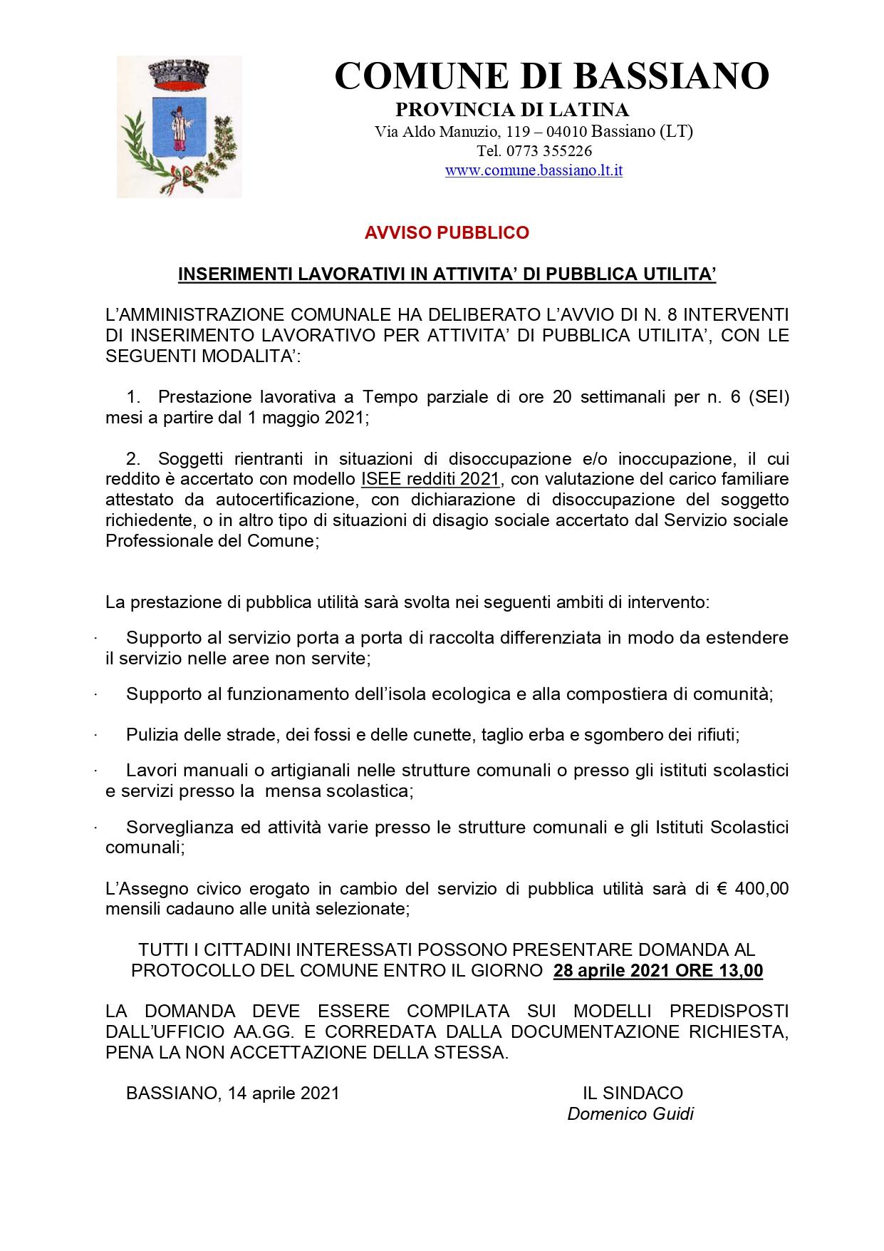 AVVISO PUBBLICO - INSERIMENTI LAVORATIVI IN ATTIVITA' DI PUBBLICA UTILITA'