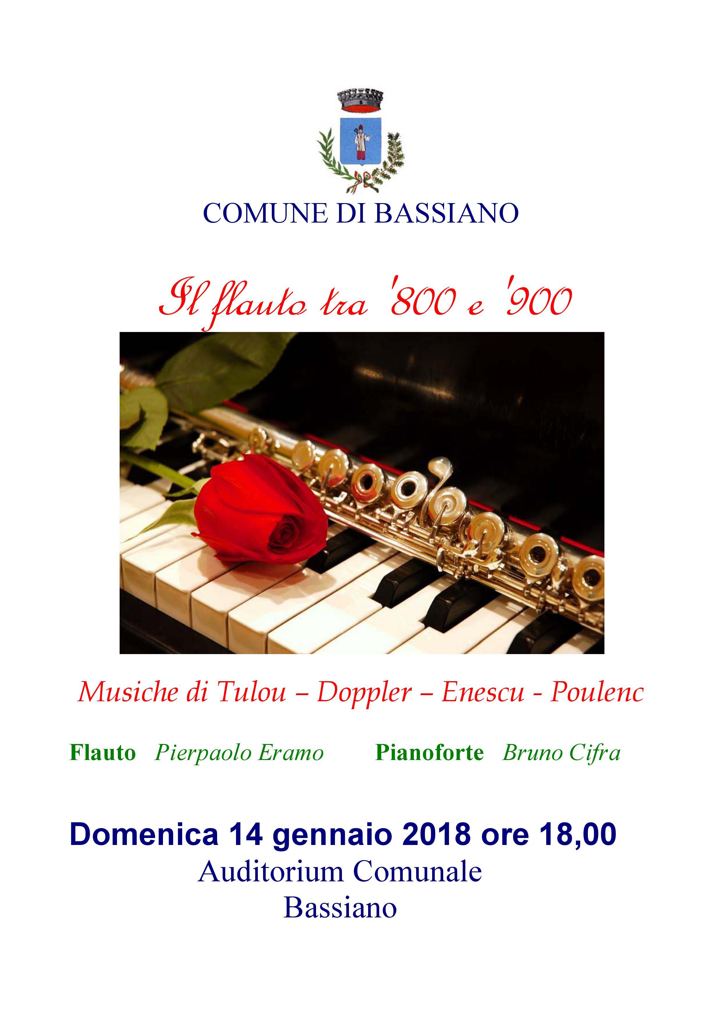 IL FLAUTO TRA  '800 E '900 - DOMENICA 14 GENNAIO 2018 ORE 18:00 AUDITORIUM COMUNALE