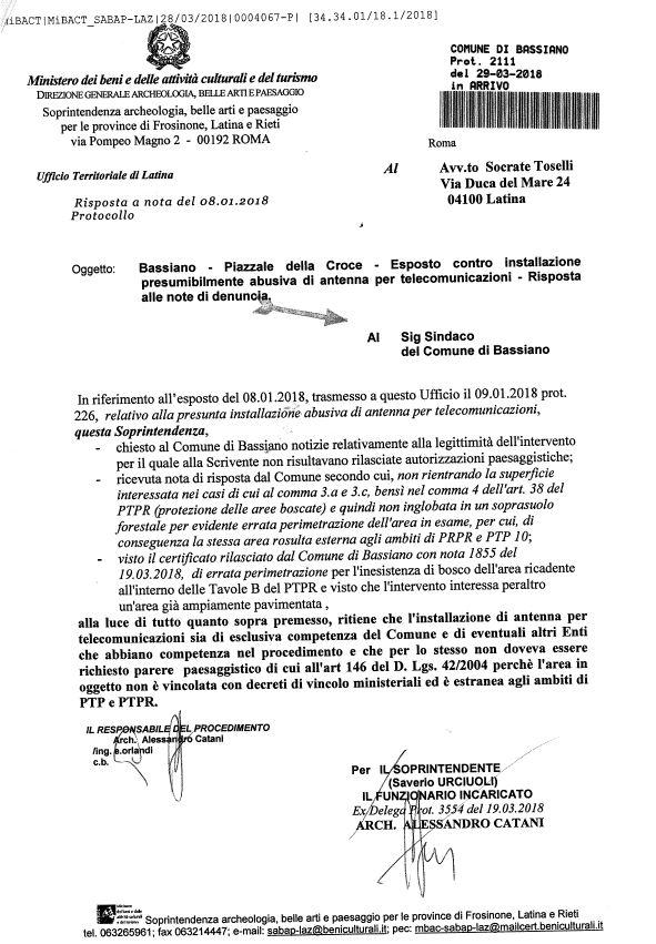 Bassiano - Piazzale della Croce - Esposto contro installazione presumibilmente abusiva di antenna per telecomunicazioni - Risposta alle note di denuncia