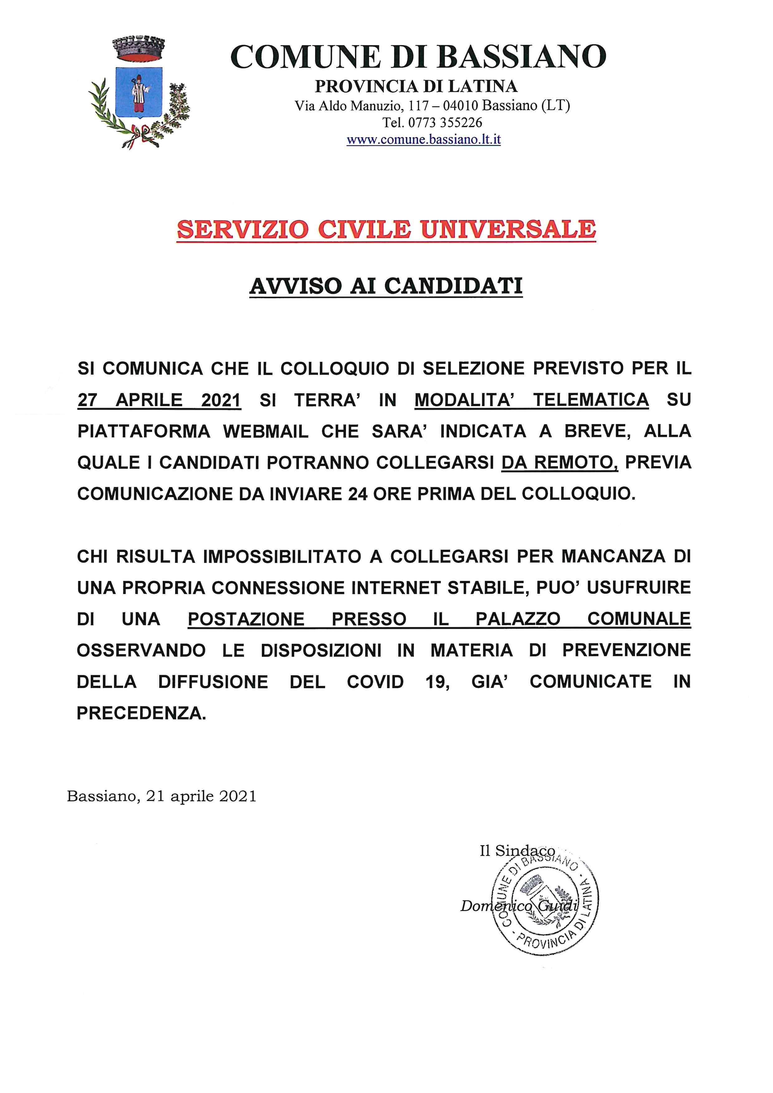 AVVISO PUBBLICO - servizio civile universale
