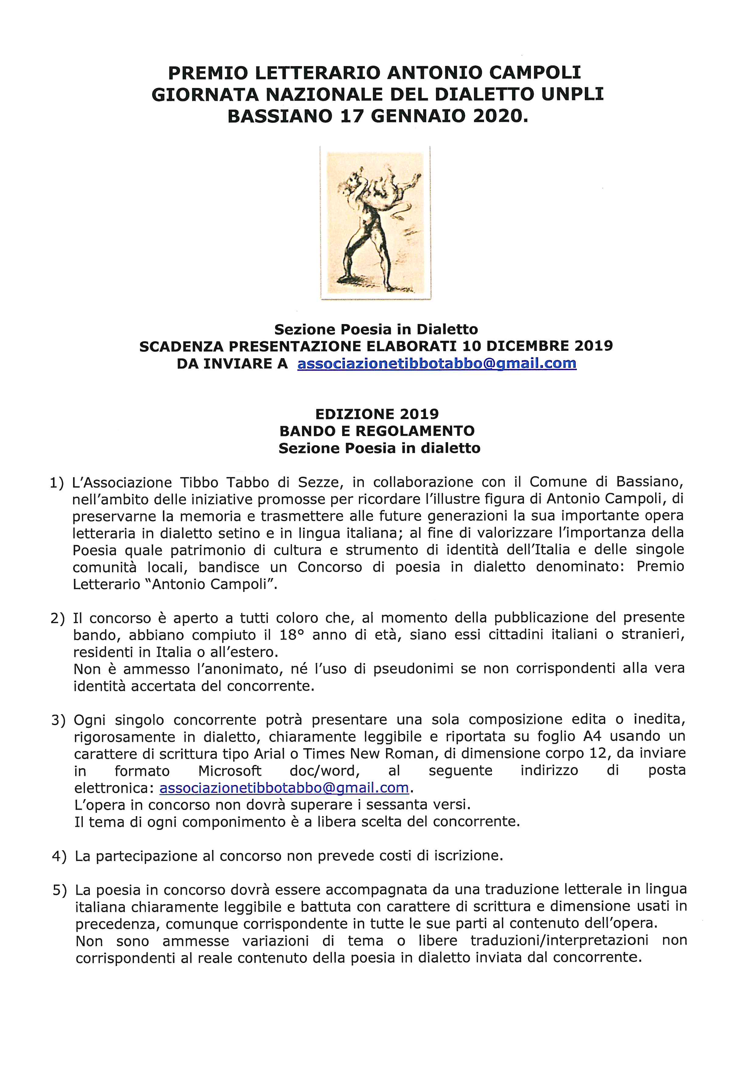 PREMIO LETTERARIO ANTONIO CAMPOLI - Giornata nazionale del dialetto UNPLI - Bassiano 17 gennaio 2020