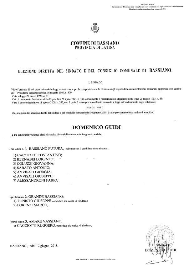 ELEZIONE DIRETTA DEL SINDACO E DEL CONSIGLIO COMUNALE DI BASSIANO - MANIFESTO PROCLAMATI ELETTI - ELEZIONI AMMINISTRATIVE DEL 10 GIUGNO 2018