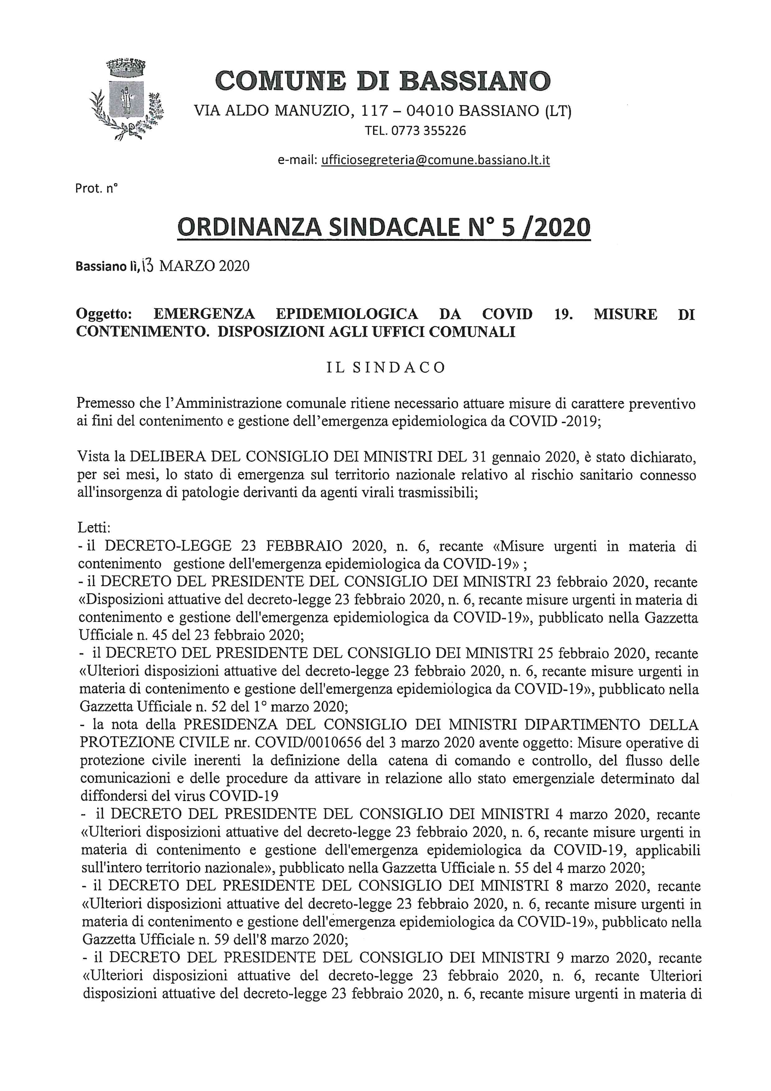 ORDINANZA SINDACALE N. 5/2020