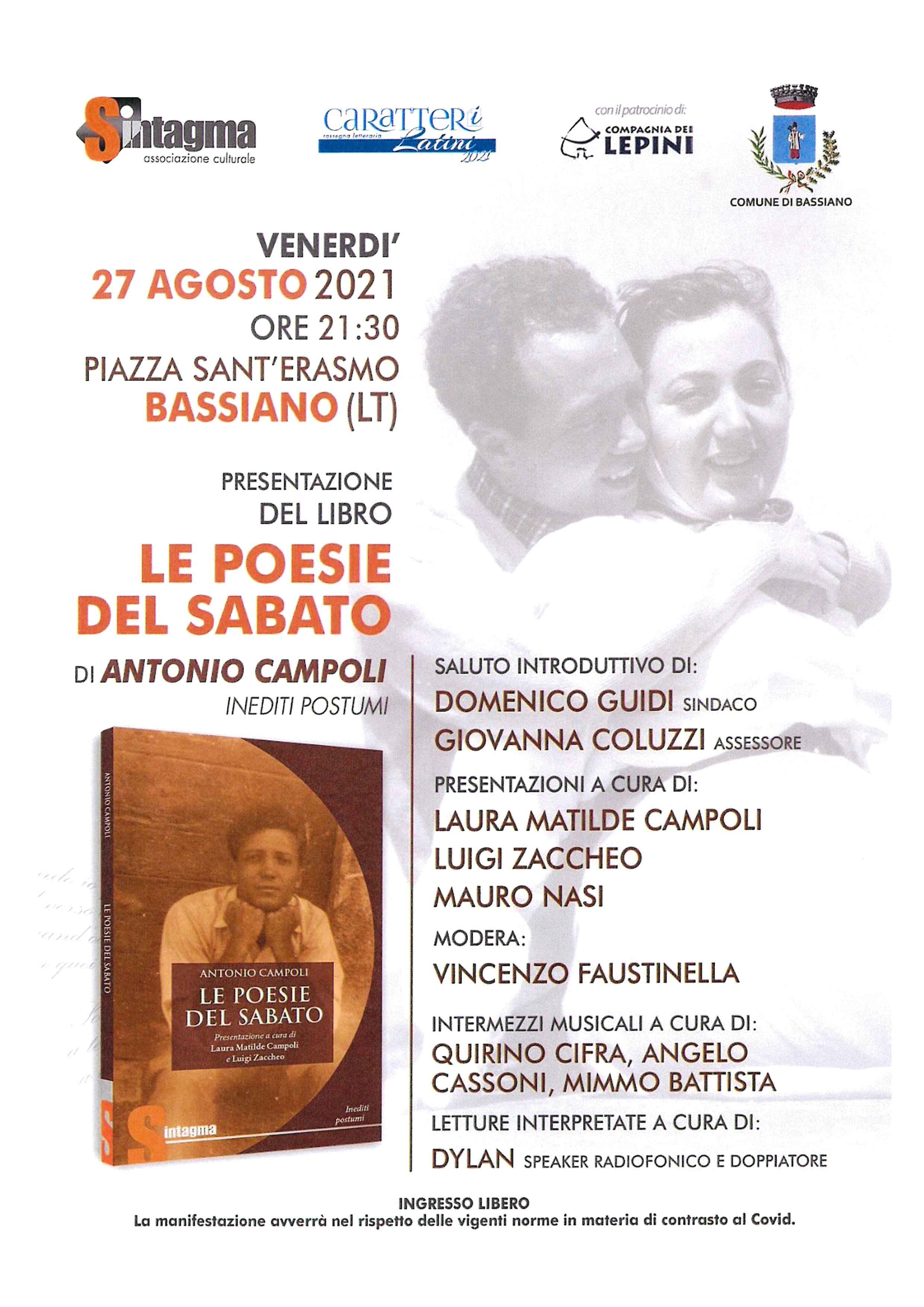 le poesie del sabato di Antoni Campoli - 27 Agosto