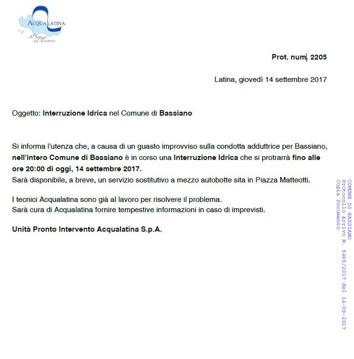 INTERRUZIONE FLUSSO IDRICO - AGGIORNAMENTO