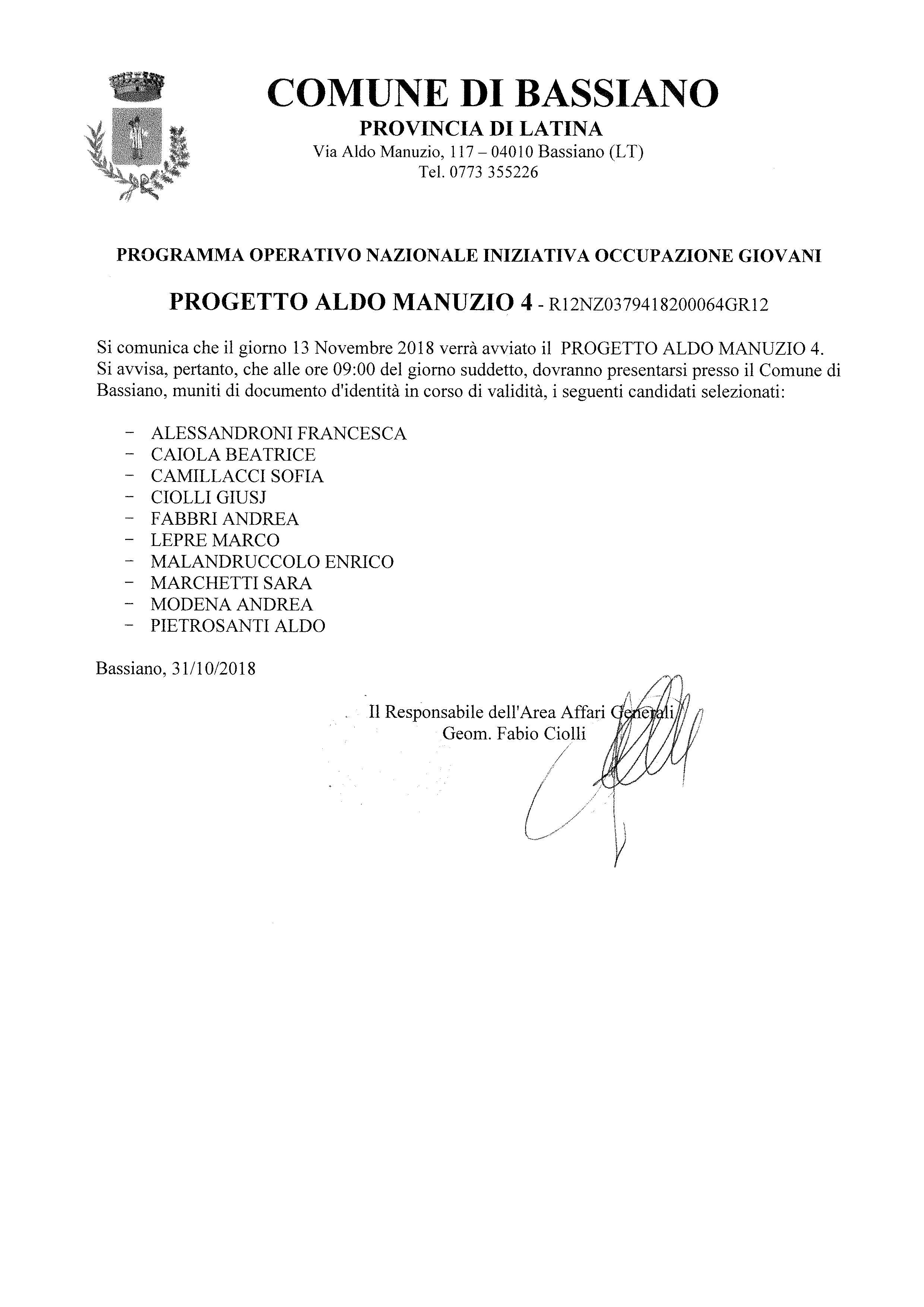 PROGRAMMA OPERATIVO NAZIONALE INIZIATIVA OCCUPAZIONE GIOVANI - PROGETTO ALDO MANUZIO 4 - INIZIO PROGETTO 13 NOVEMBRE 2018 - CONVOCAZIONE