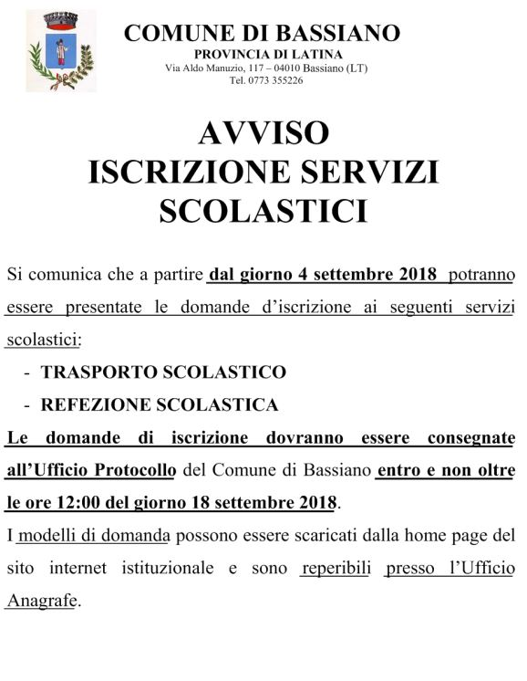 REFEZIONE SCOLASTICA E TRASPORTO SCOLASTICO 2018-2019