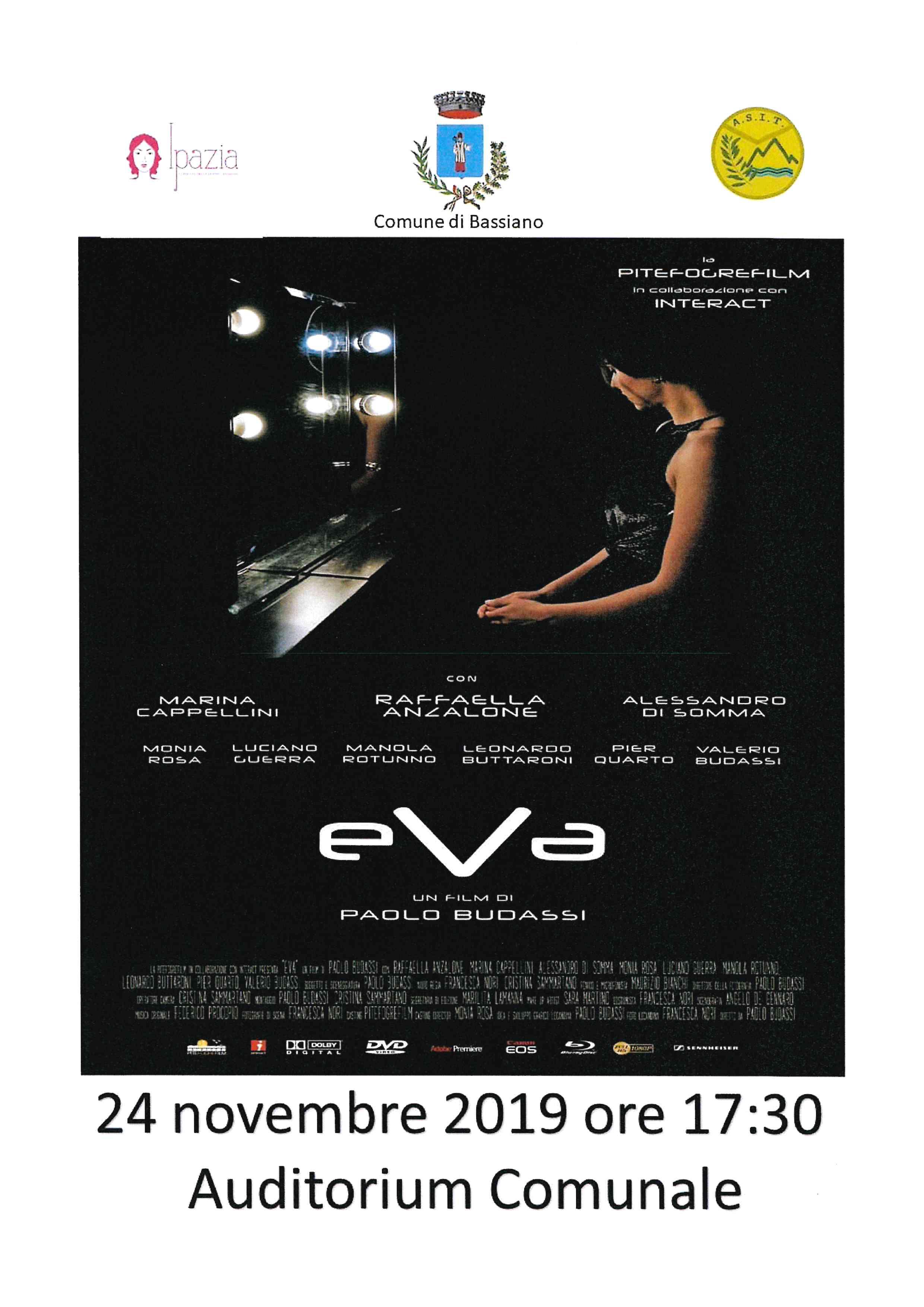 24 novembre 2019 ore 17:30 Auditorium comunale EVA un film di Paolo Budassi