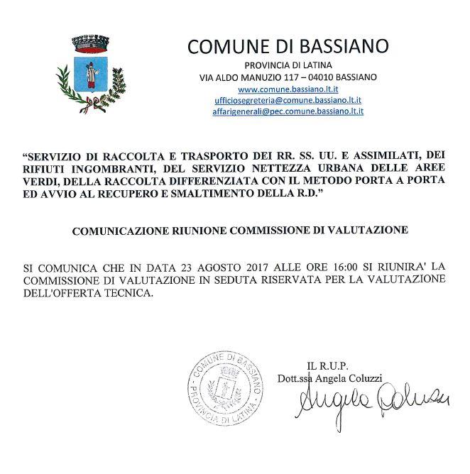 GARA D'APPALTO SERVIZIO RACCOLTA RIFIUTI URBANI - RIUNIONE COMMISSIONE DI VALUTAZIONE 23 AGOSTO 2017 ORE 16:00