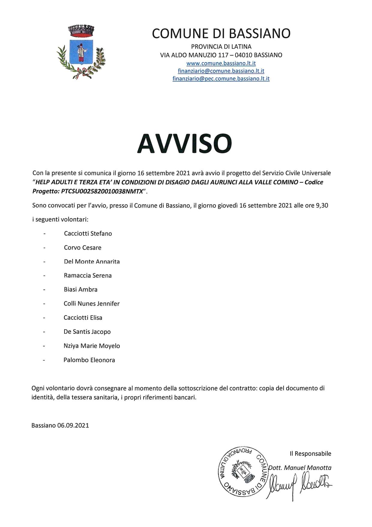 AVVIO SERVIZIO CIVILE UNIVERSALE