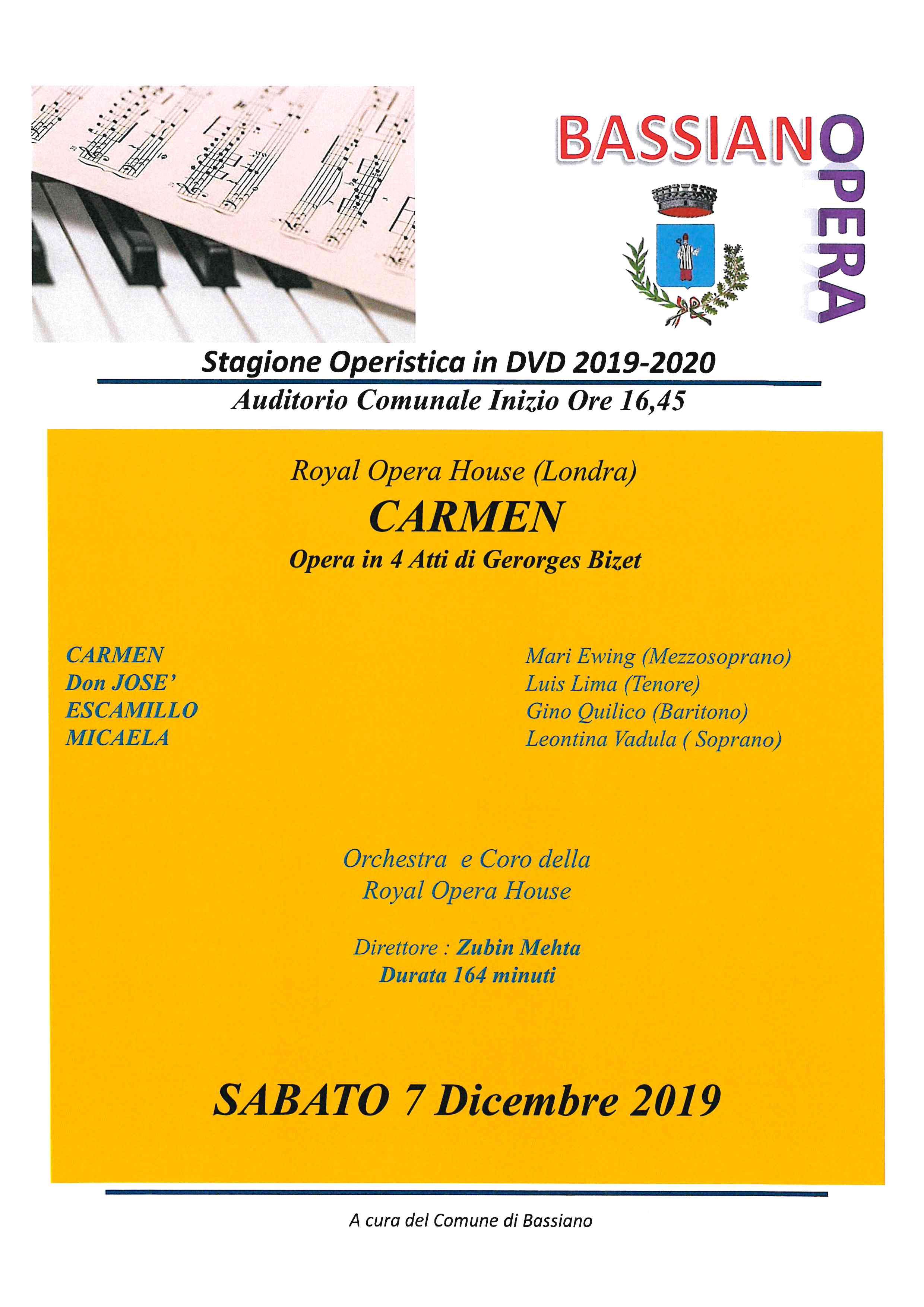 stagione Operistica in DVD 2019/2020 - Auditorio Comunale Iniziio Ore 16,45