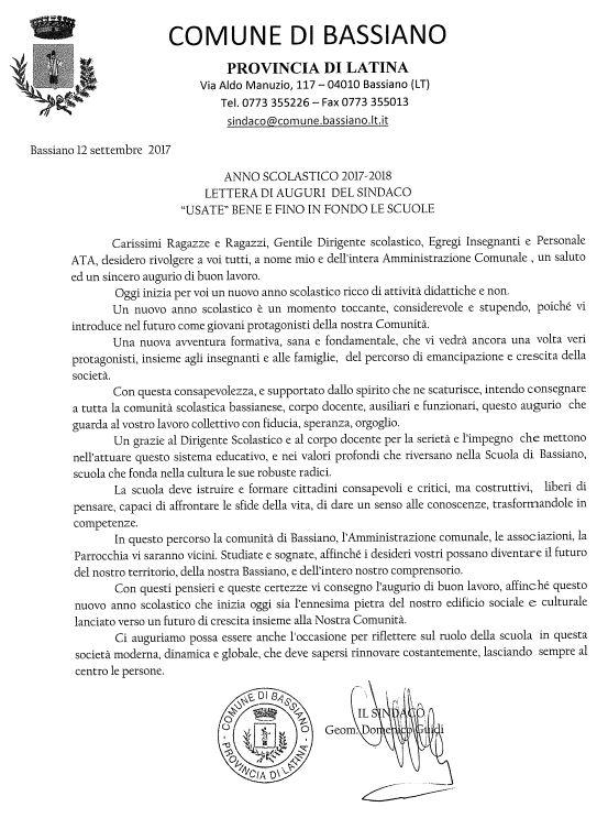 ANNO SCOLASTICO 2017-2018  LETTERA DI AUGURI DEL SINDACO