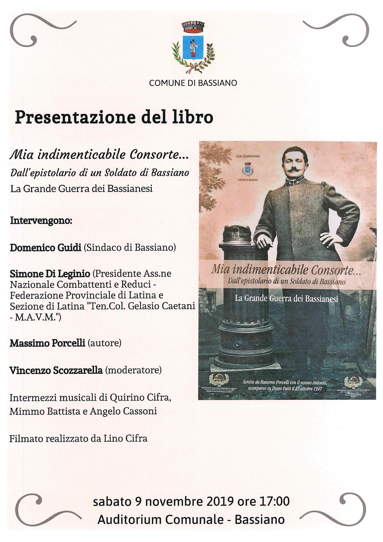 """Sabato 9 novembre 2019 ore 17:00 Auditorium Comunale Bassiano - PRESENTAZIONE DEL LIBRO """"MIA INDIMENTICABILE CONSORTE"""""""