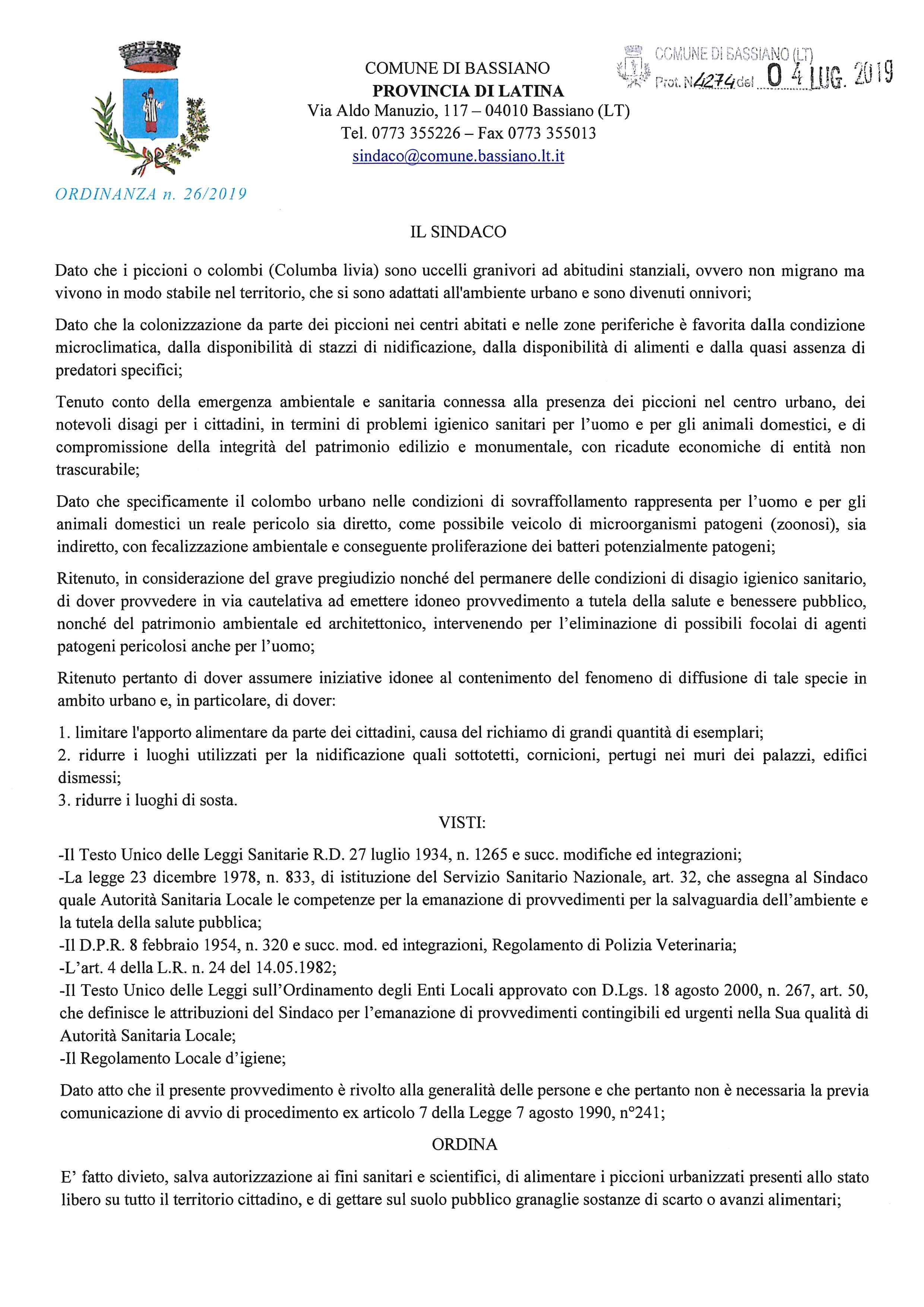 Ordinanza Sindacale n. 26/2019