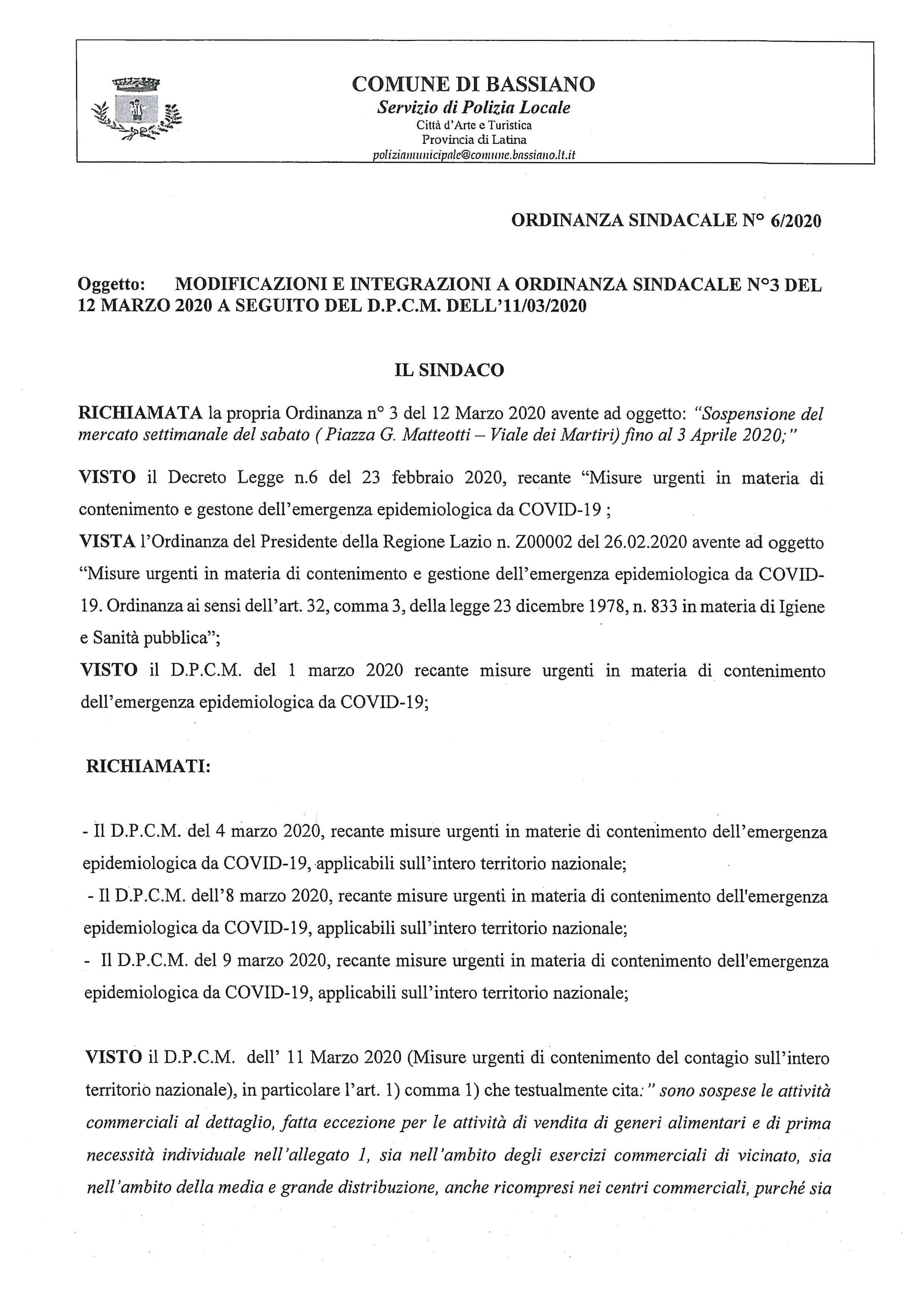 ORDINANZA SINDACALE N. 6/2020