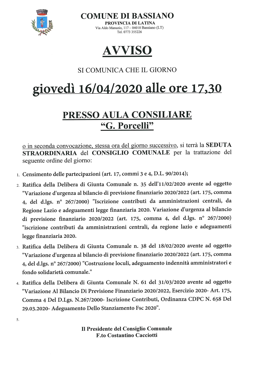 AVVISO SEDUTA STRAORDINARIA CONSIGLIO COMUNALE