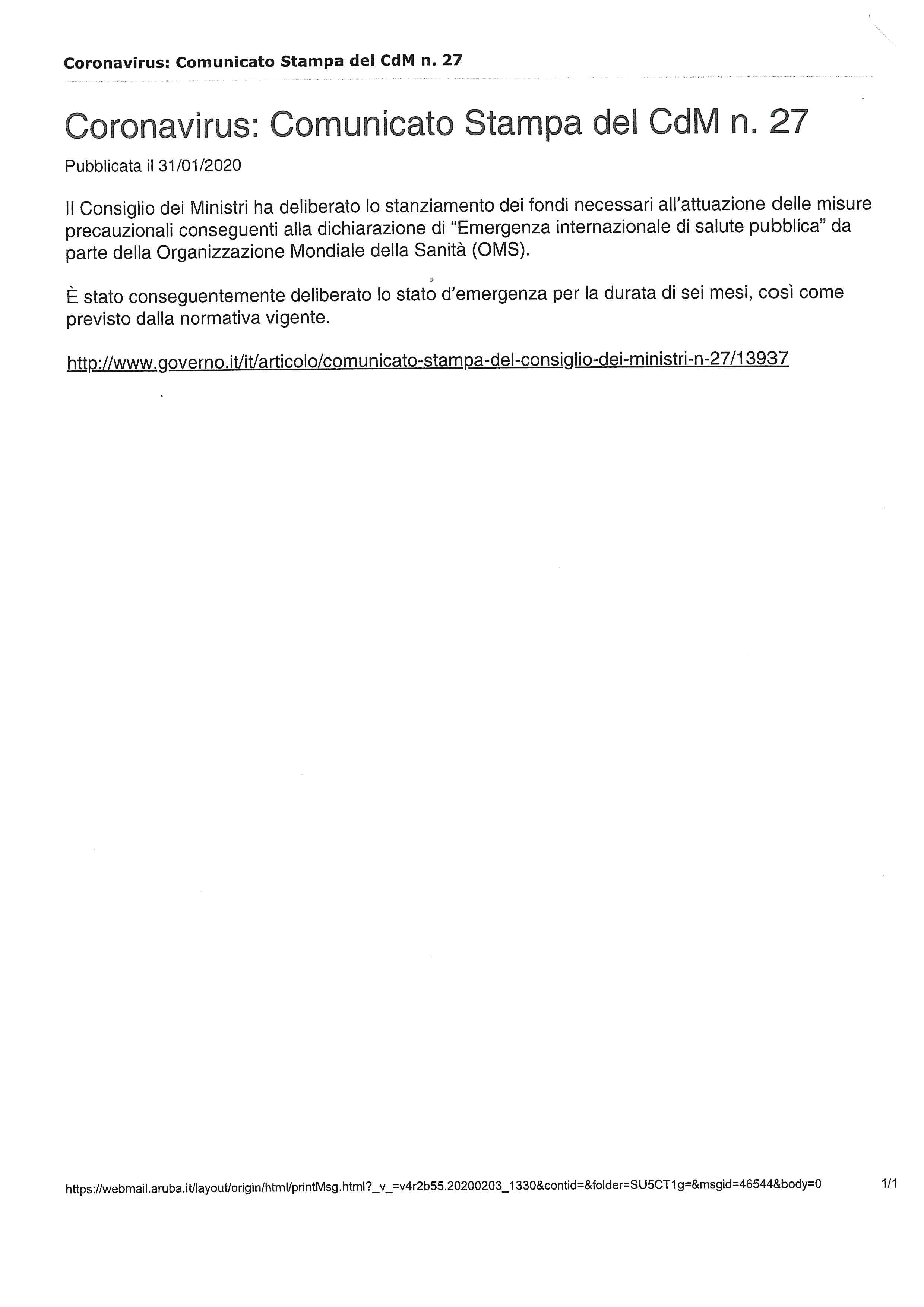 CORONAVIRUS: COMUNICATO STAMPA DEL CDM N. 27