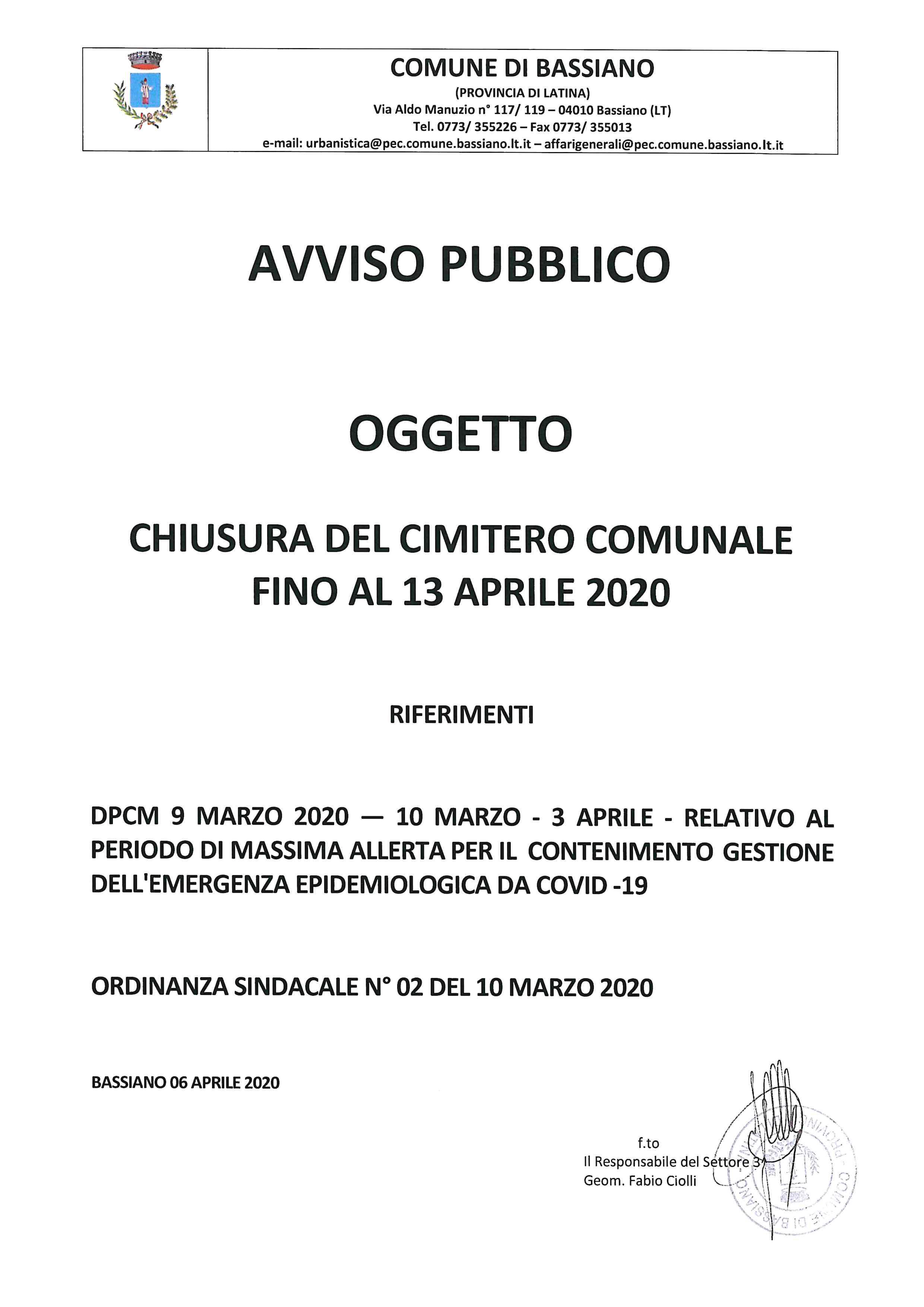 CHIUSURA DEL CIMITERO COMUNALE FINO AL 13 APRILE 2020