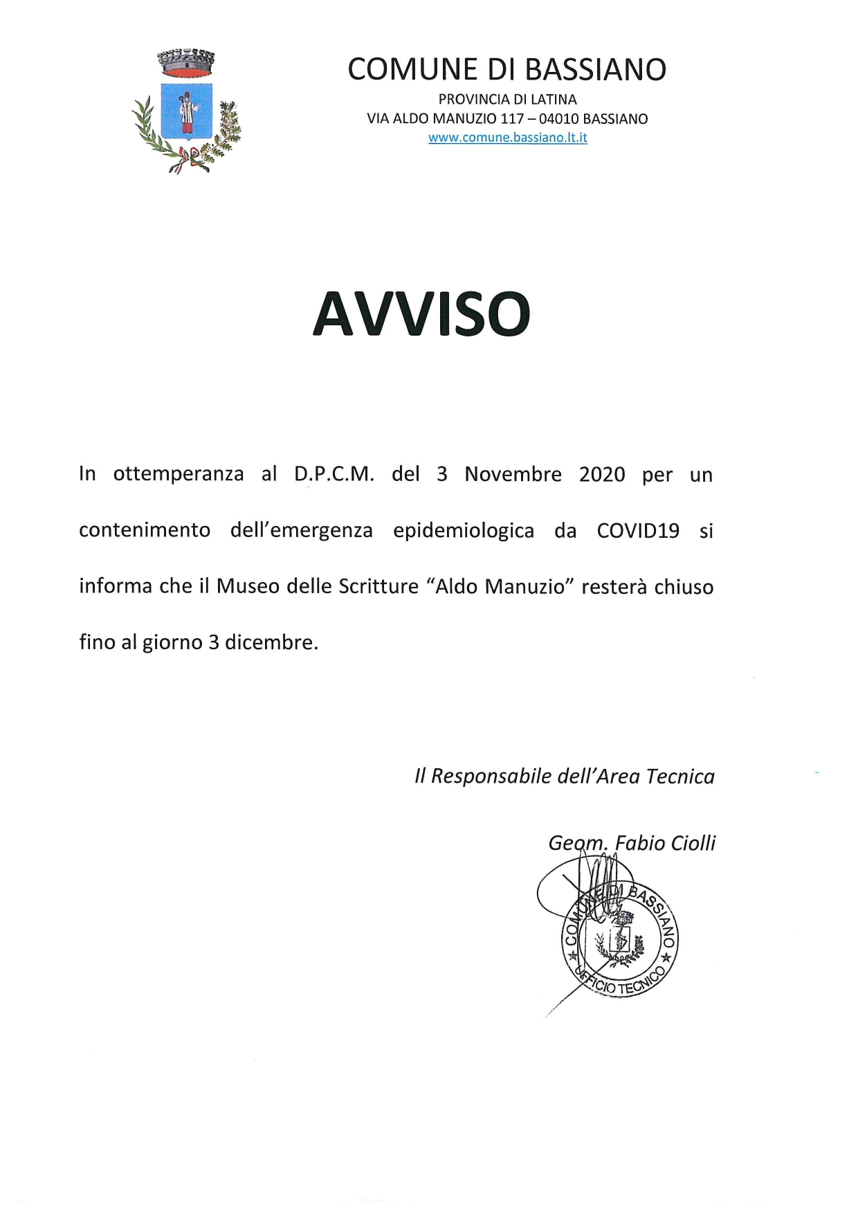 DPCM - CHIUSURA MUSEO DELLE SCRITTURE