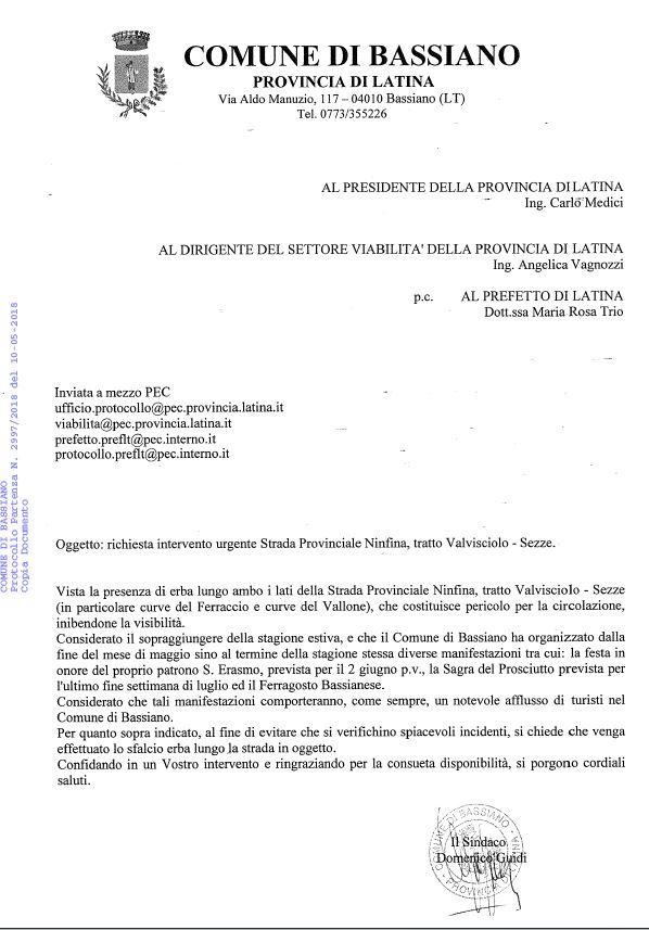 RICHIESTA INTERVENTO URGENTE STRADA PROVINCIALE NINFINA, TRATTO VALVISCIOLO-SEZZE. RICHIESTA SFALCIO ERBA