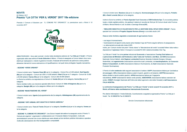 """PREMIO """"LA CITTA' PER IL VERDE"""" 2017 - 18a edizione - COMUNE DI BASSIANO PREMIATO"""