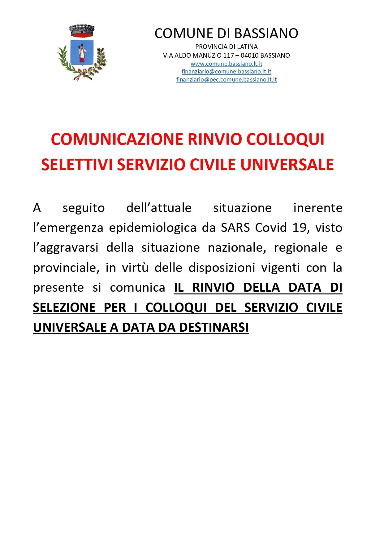 COMUNICAZIONE RINVIO COLLOQUI SELETTIVI SERVIZIO CIVILE UNIVERSALE