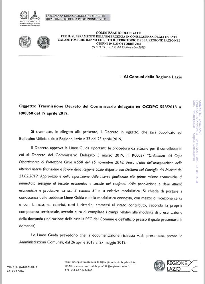 Commissario delegato per il superamento dell'emergenza in conseguenza degli eventi calamitosi che hanno colpito il territorio della regione Lazio nei giorni 29 e 30 ottobre 2018.