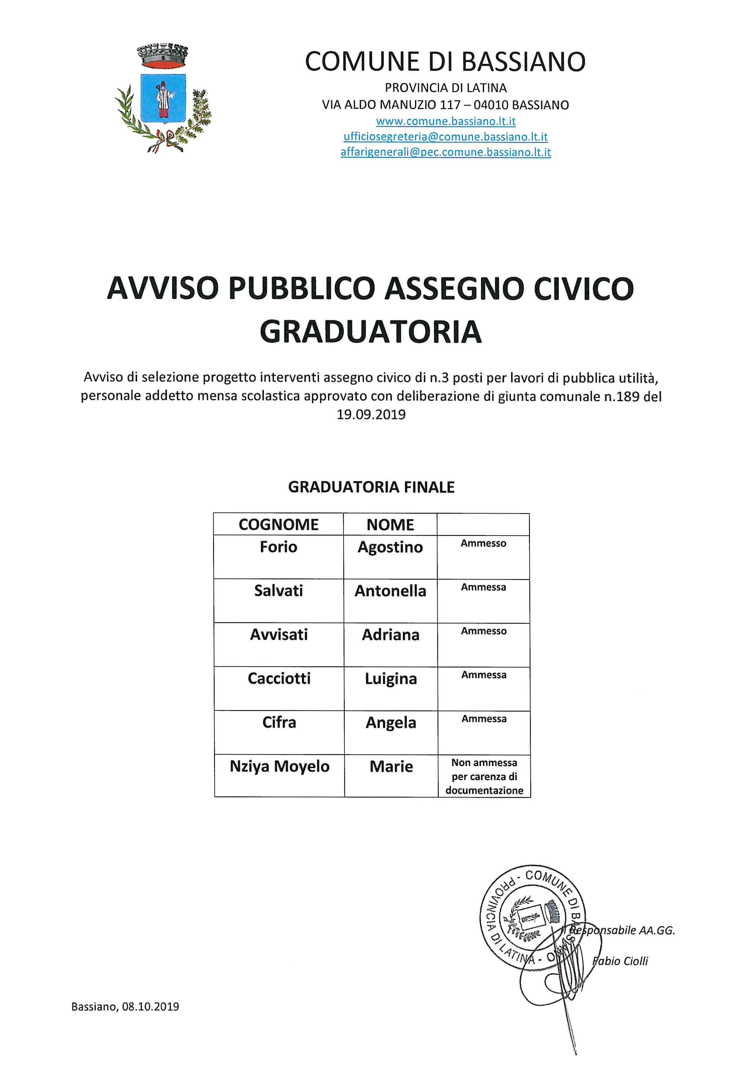 AVVISO PUBBLICO ASSEGNO CIVICO GRADUATORIA