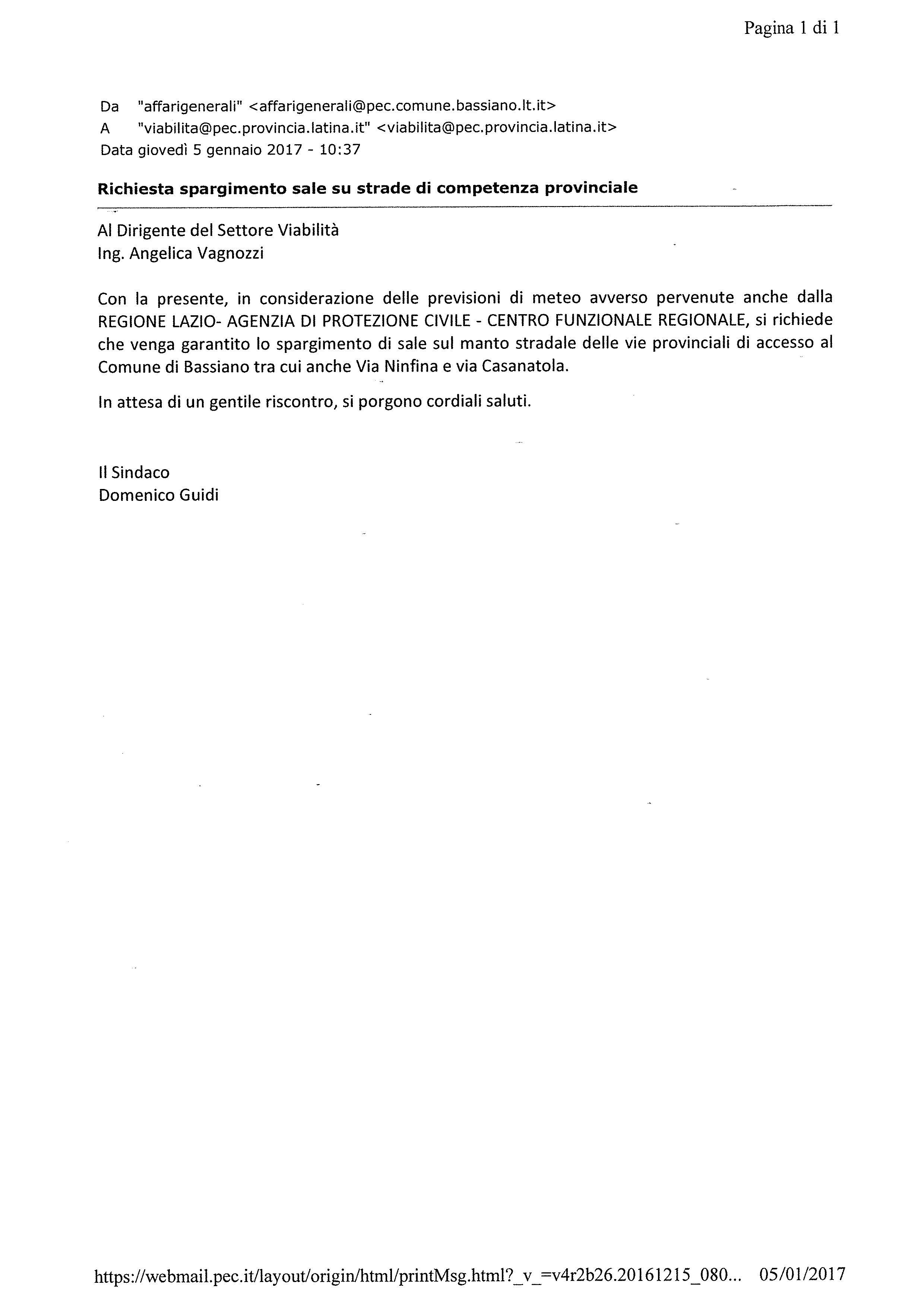 RICHIESTA ALLA PROVINCIA DI LATINA - SPARGIMENTO SALE